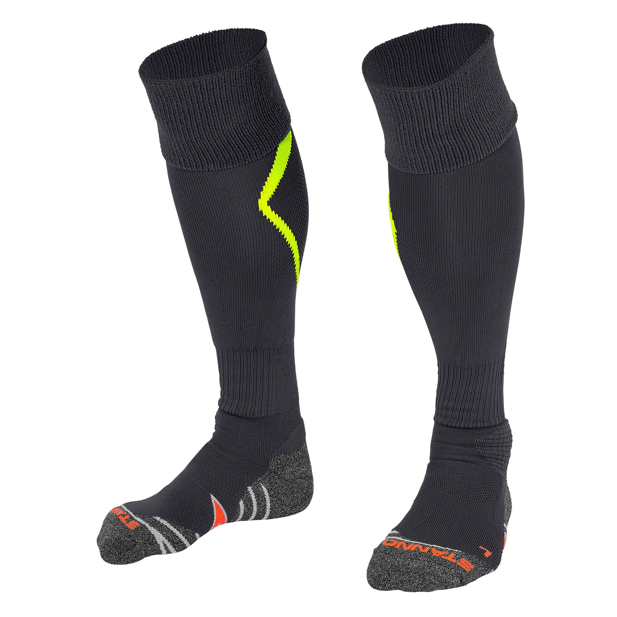 Stanno Forza socks in anthracite with neon yellow arrow design on the calf.