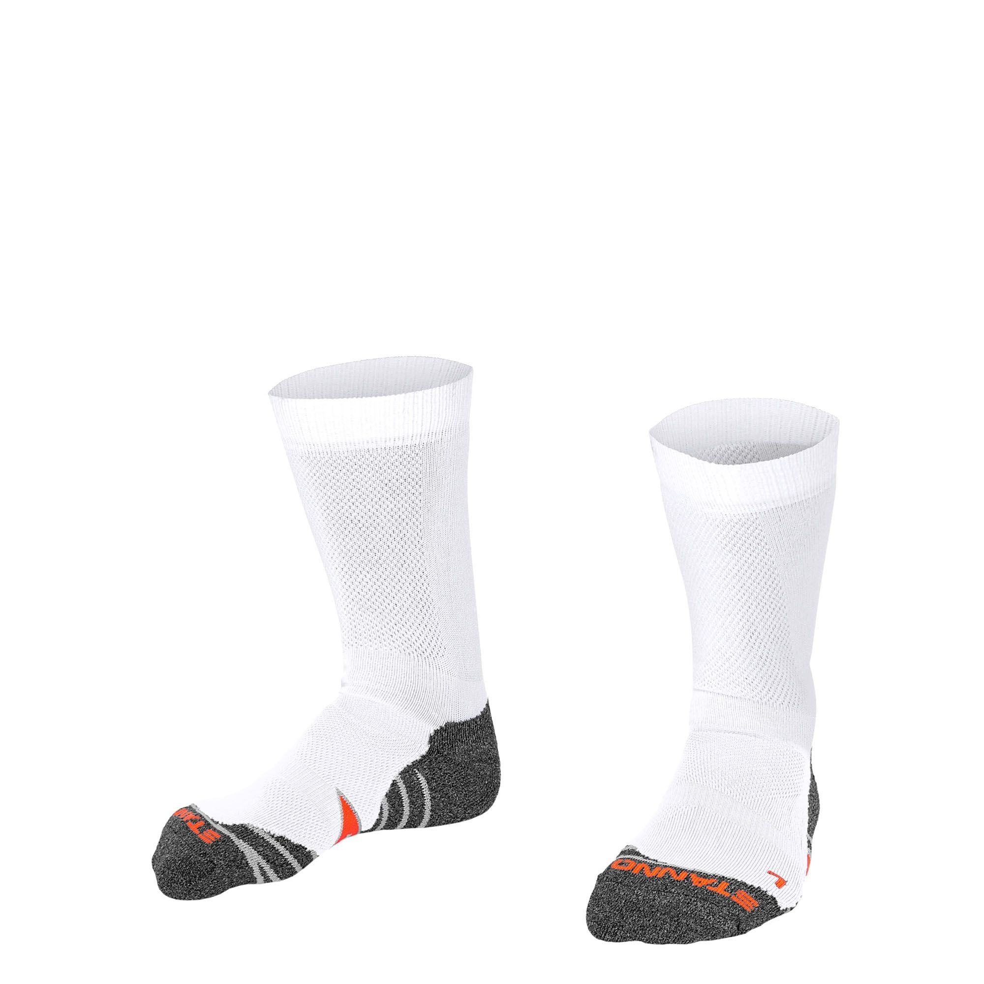 Stanno Elite sock in white with grey, white and orange sole