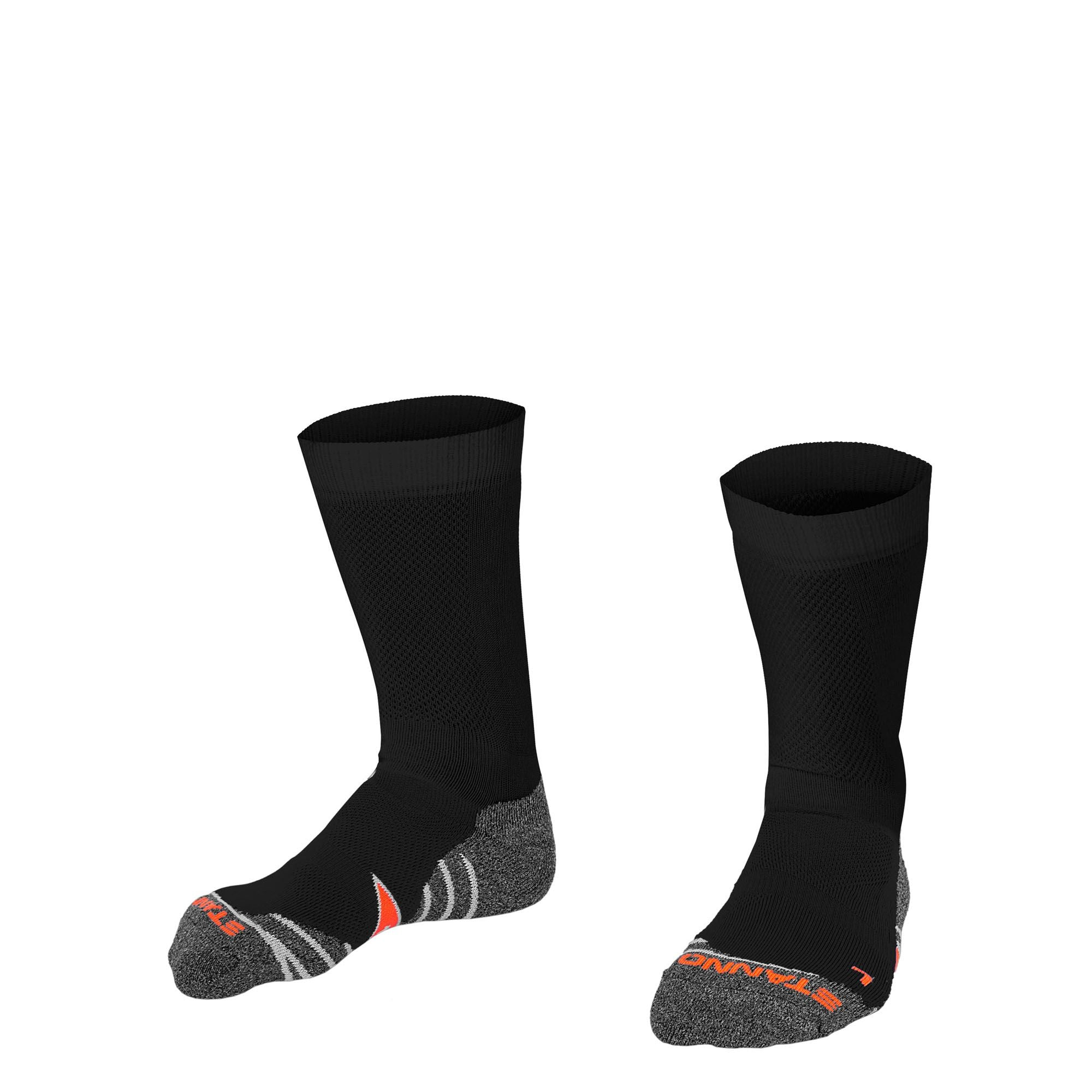 Stanno Elite sock in black with grey, white and orange sole