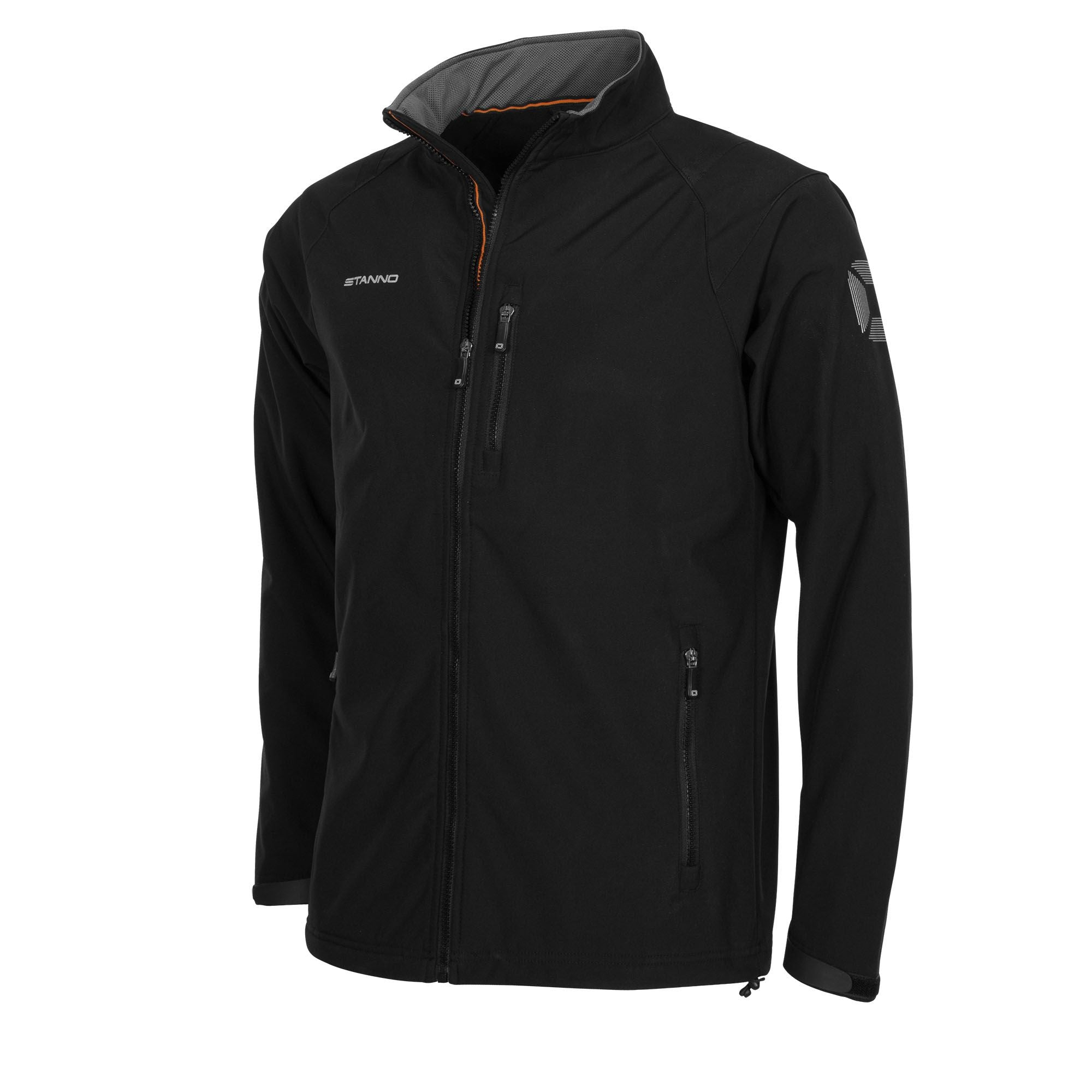 Front of Stanno Centro soft shell jacket in black with left chest zip for pocket