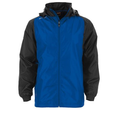 Front of Stanno Centro windbreaker in royal blue with black contrast sleeve and Stanno printed logo