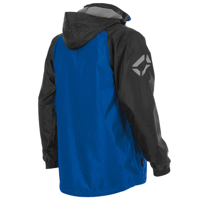 Rear of Stanno windbreaker in royal blue with black contrast sleeve and hood. Printed logo on sleeve