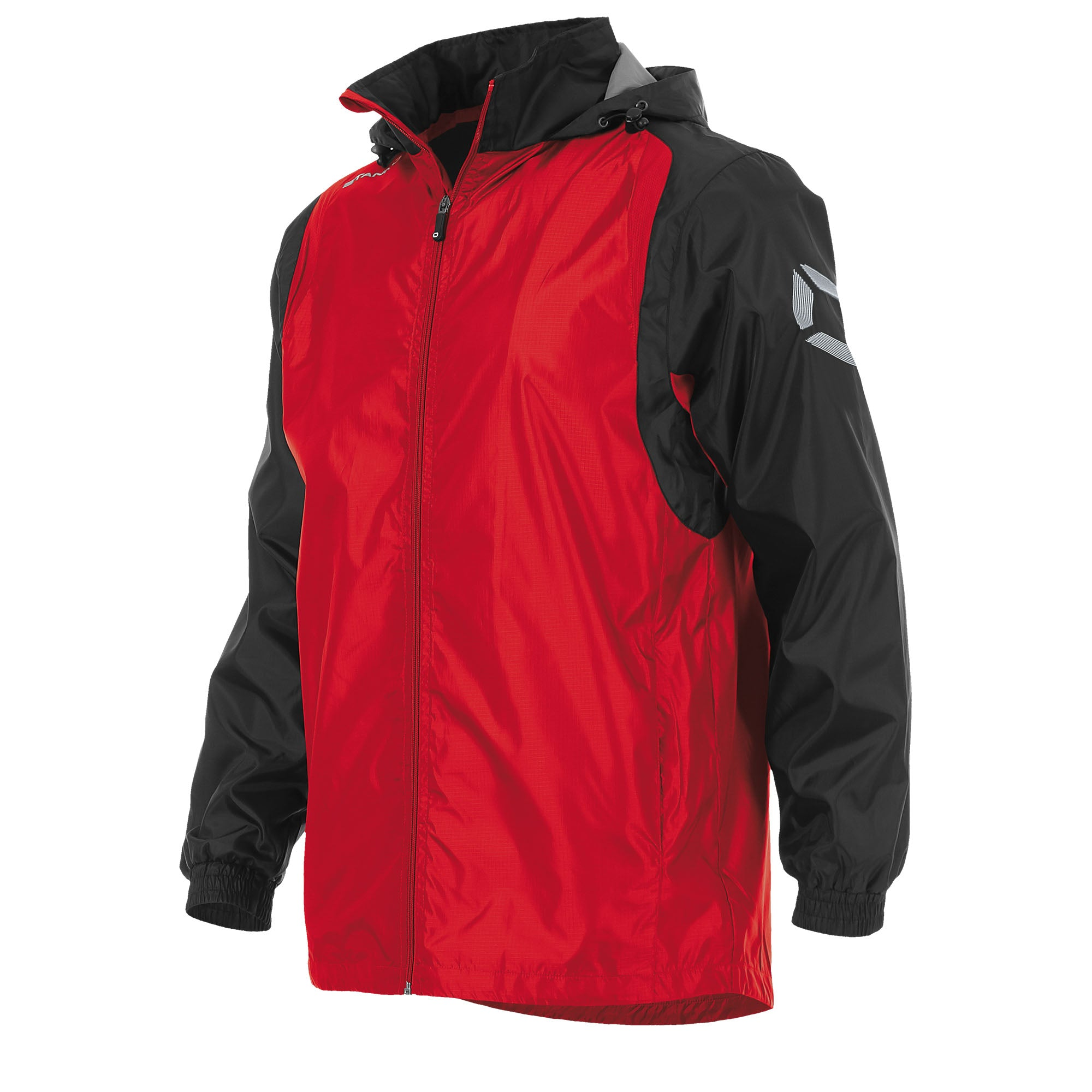 Front of Stanno Centro windbreaker in red with black contrast sleeve and Stanno printed logo