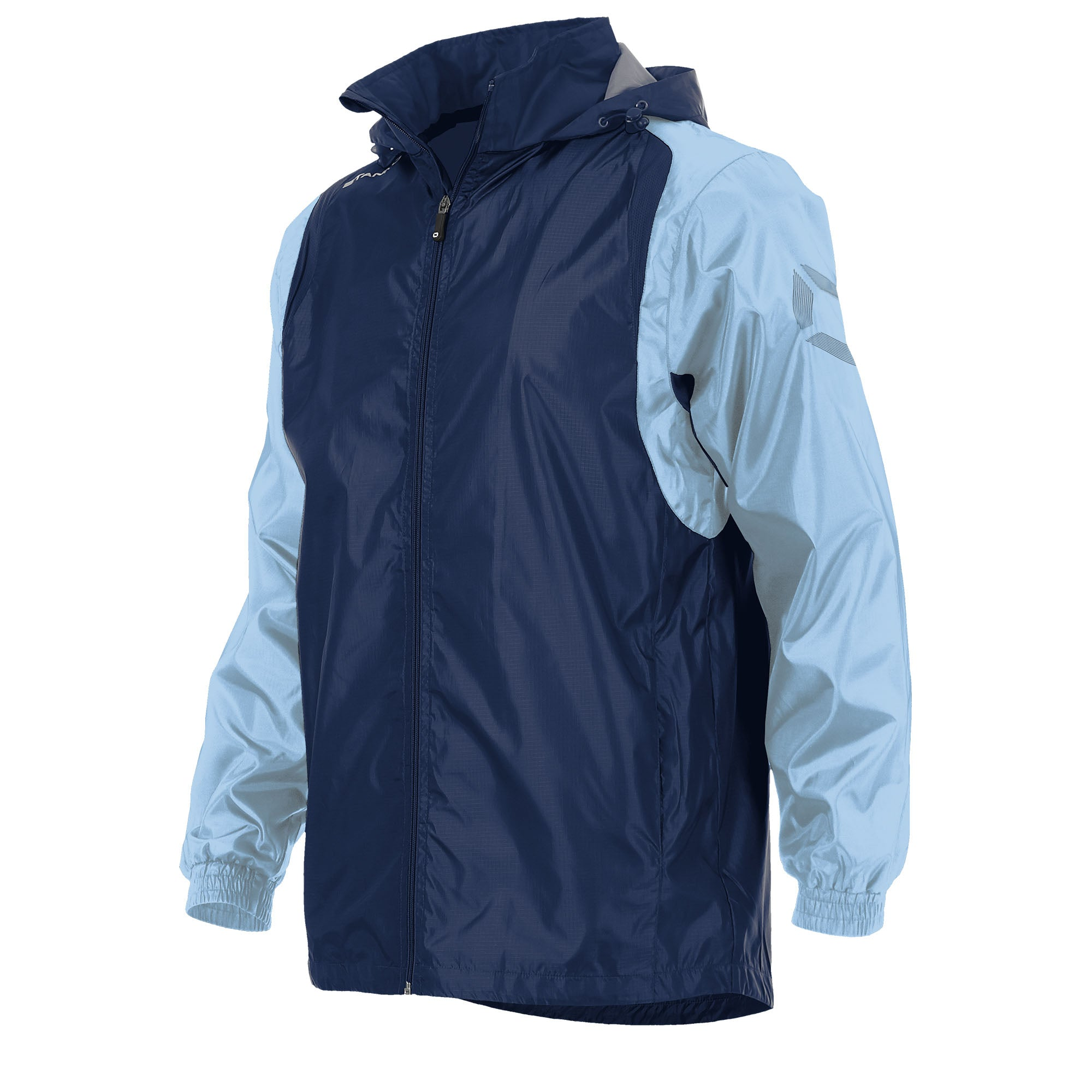 Front of Stanno Centro windbreaker in navy with sky blue contrast sleeve and Stanno printed logo