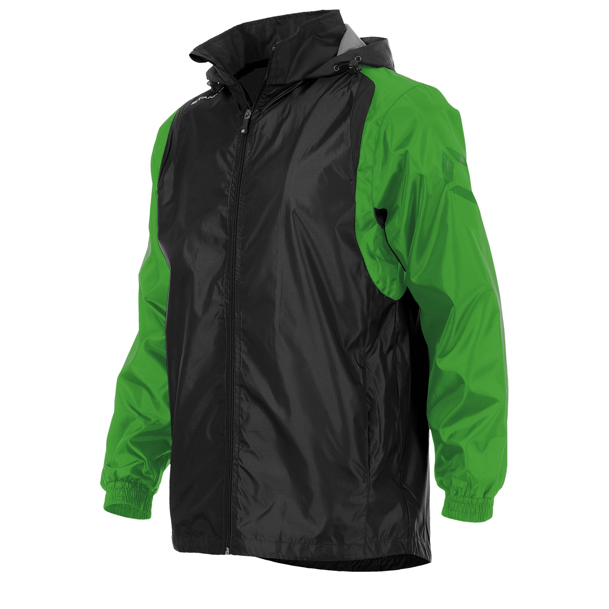 Front of Stanno Centro windbreaker in black with bright green contrast sleeve and Stanno printed logo