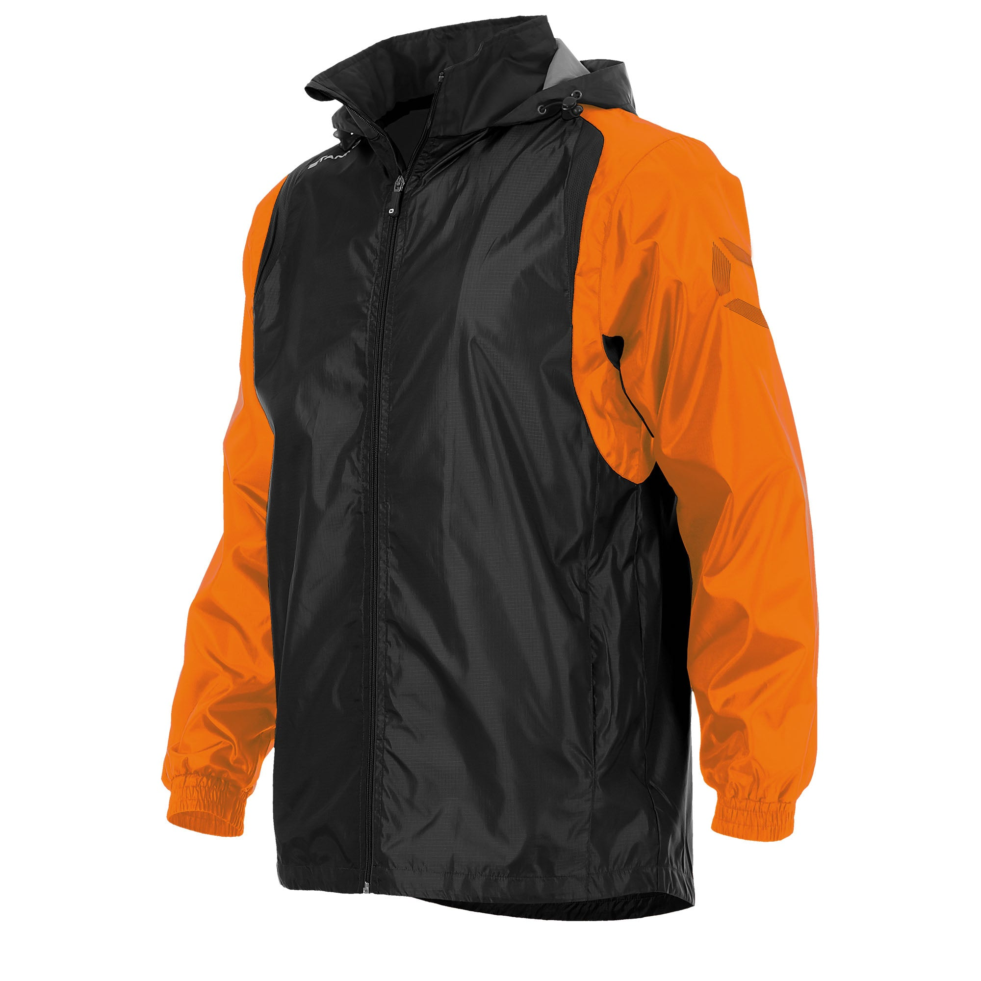 Front of Stanno Centro windbreaker in black with orange contrast sleeve and Stanno printed logo