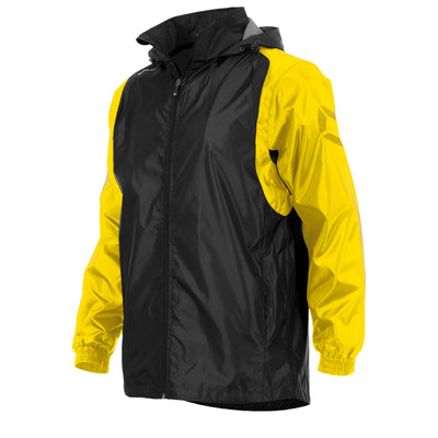 Front of Stanno Centro windbreaker in black with yellow contrast sleeve and Stanno printed logo