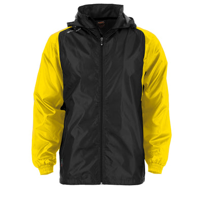 Front of Stanno Centro windbreaker in black with yellow contrast sleeve