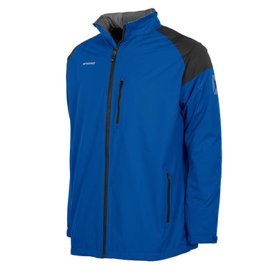 Front of royal blue Stanno Centro All season jacket, front zip on left chest. Black contrast shoulders