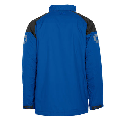 Rear of royal blue Stanno Centro All season Jacket with black contrast shoulder