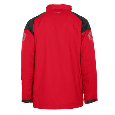 Rear of red Stanno Centro All season Jacket with black contrast shoulder