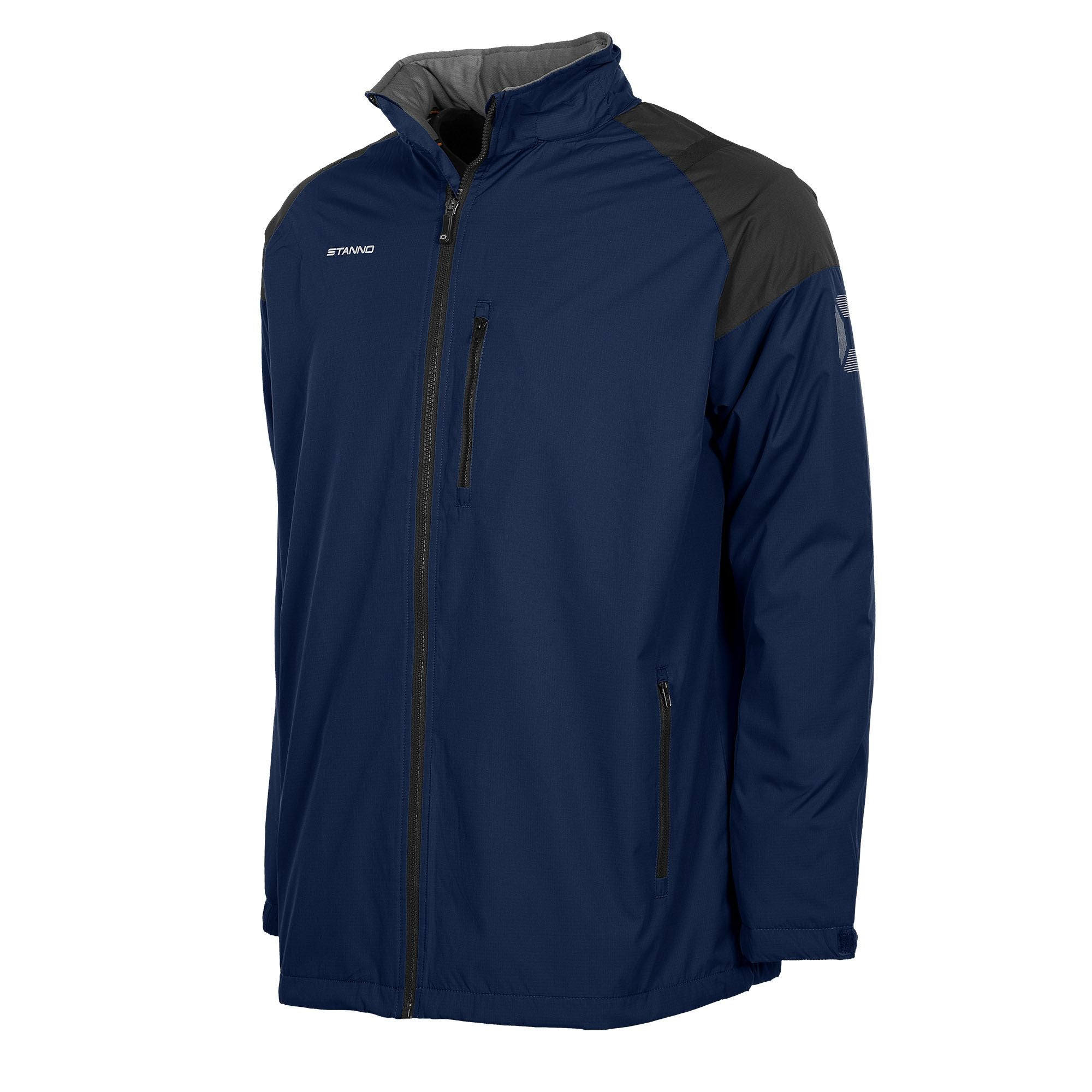 Front of navy Stanno Centro All season jacket, front zip on left chest. Black contrast shoulders