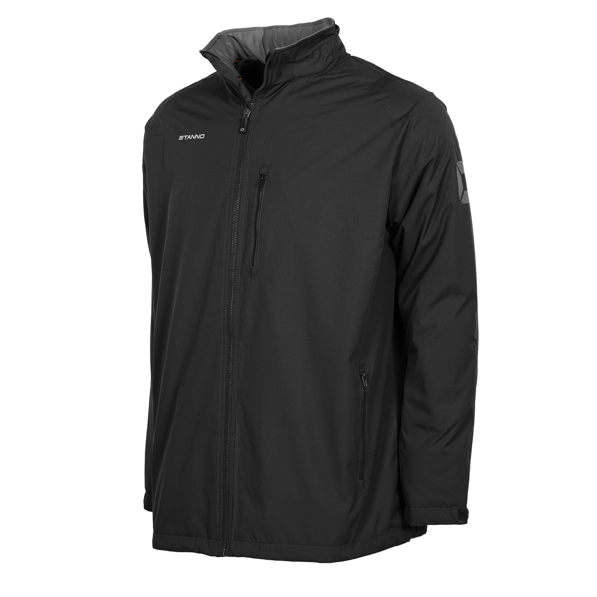 Front of black Stanno Centro All season jacket, front zip on left chest