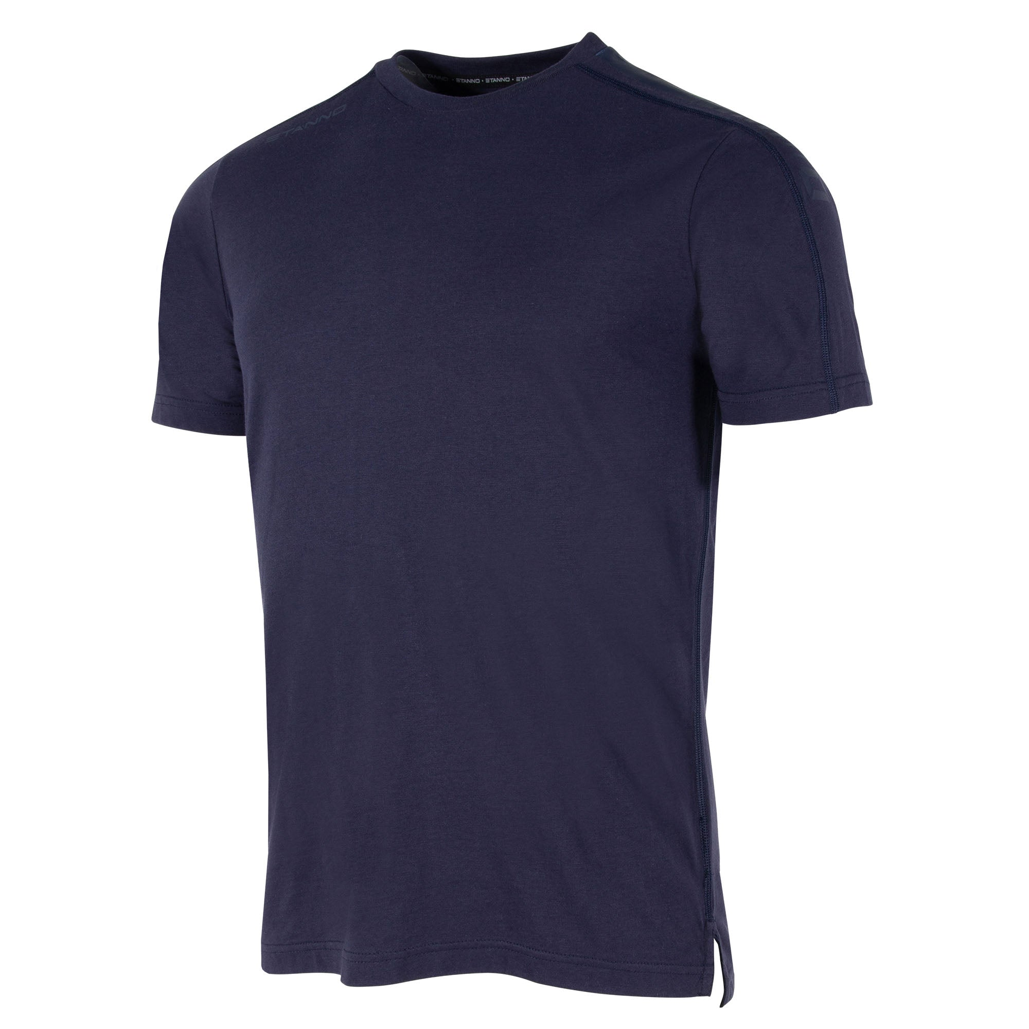 Front view of navy Stanno Ease T-Shirt with round neck, side slit design, and subtle shoulder print.