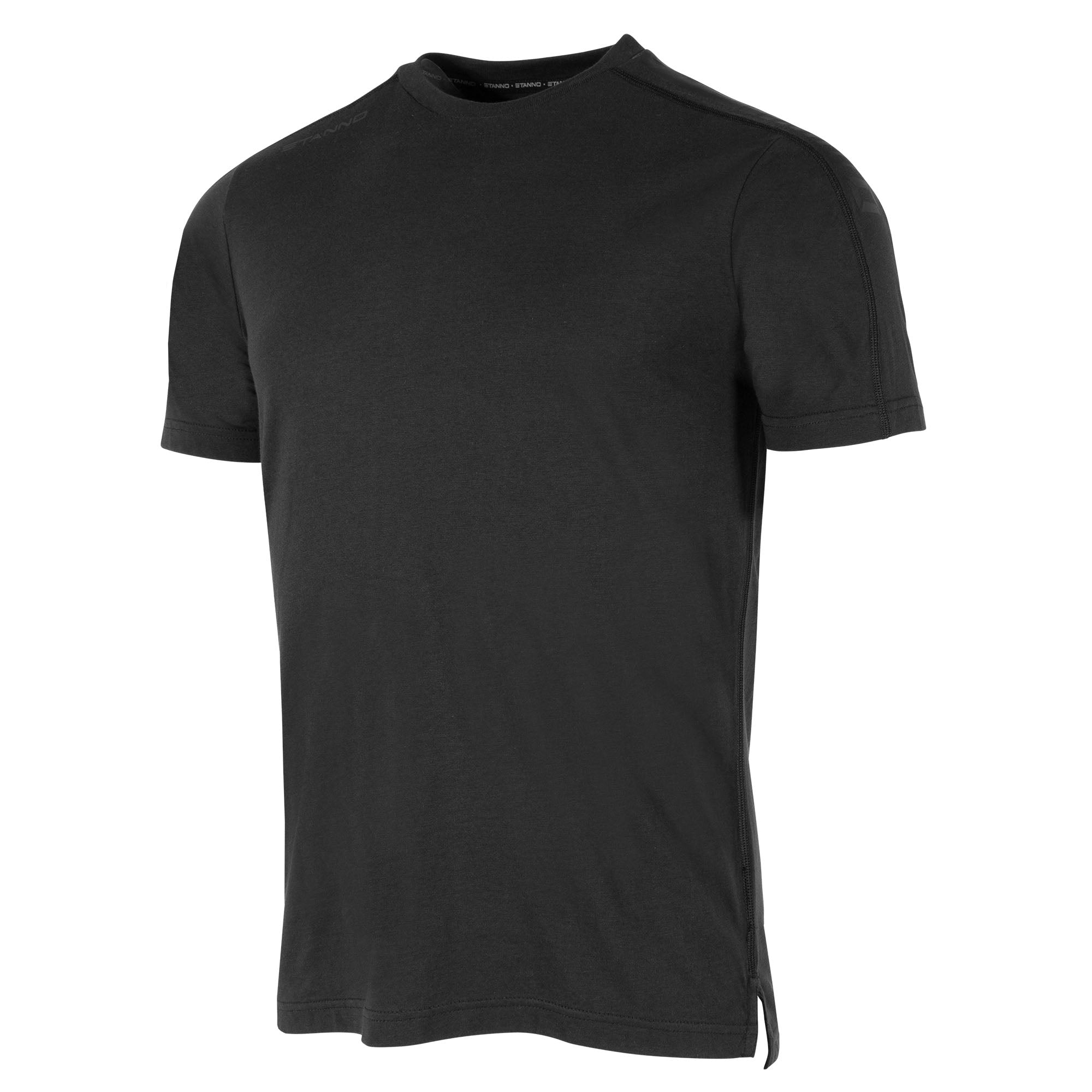 Front view of black Stanno Ease T-Shirt with round neck, side slit design, and subtle shoulder print.