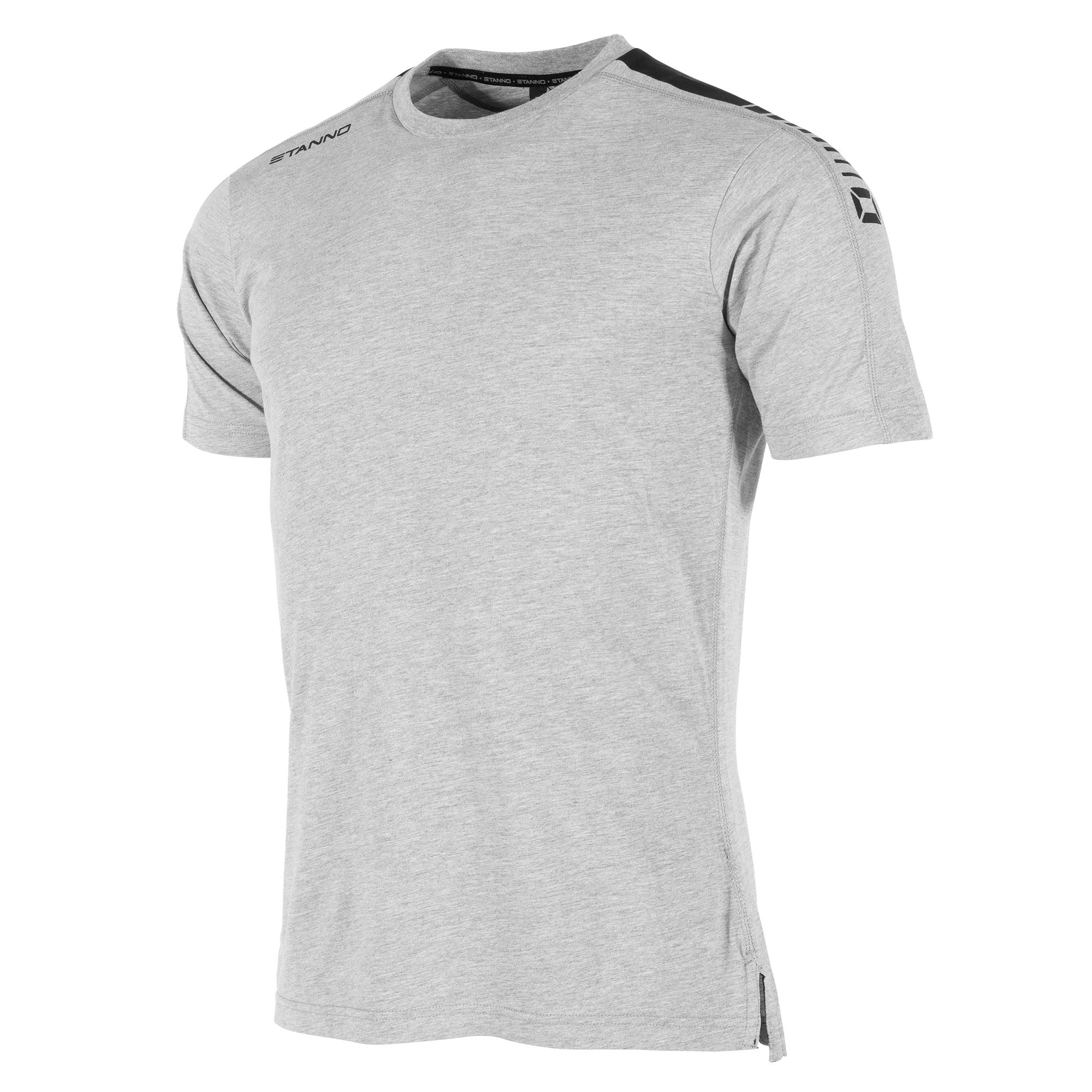 Front view of grey Stanno Ease T-Shirt with round neck, side slit design, and black shoulder print.