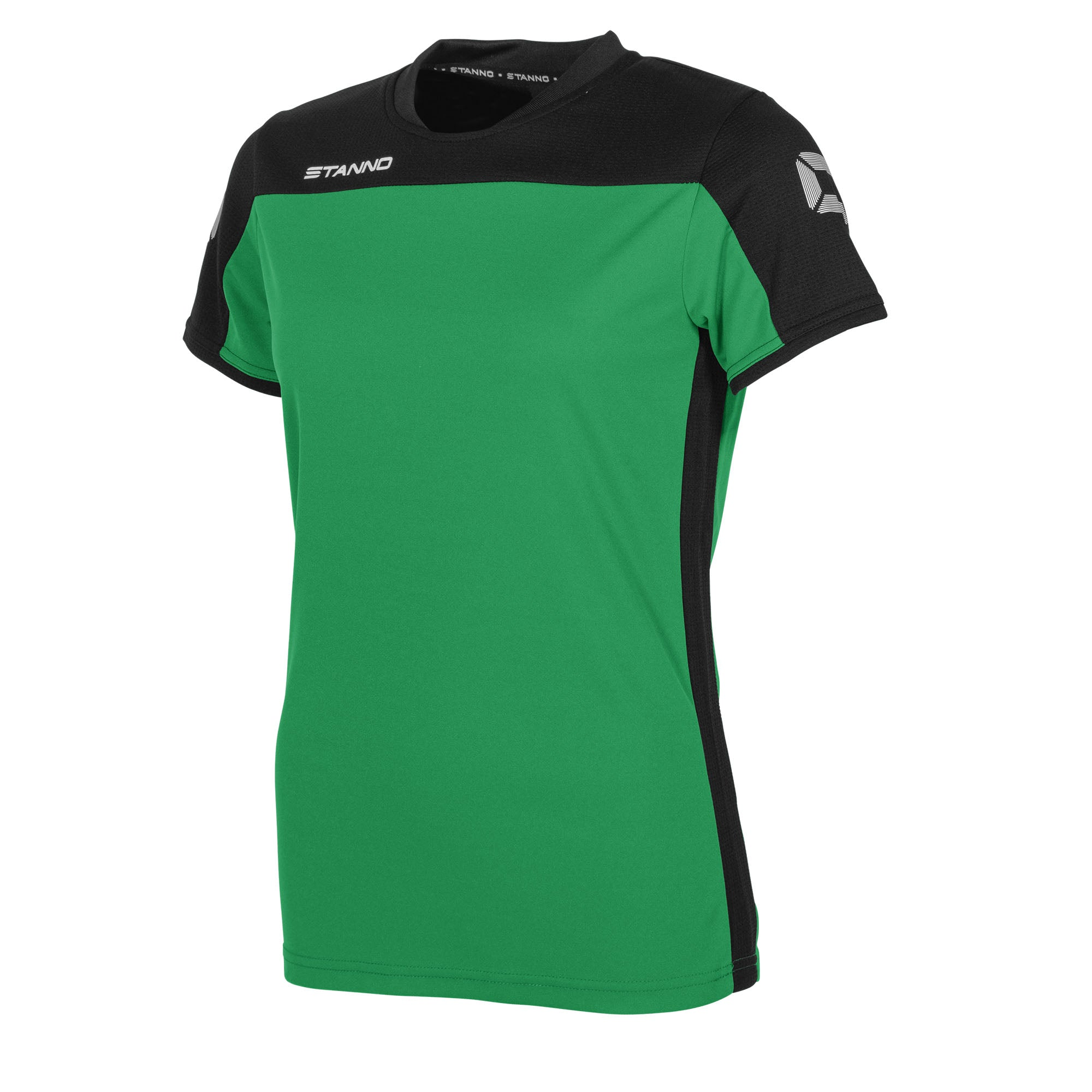 Stanno Pride ladies t-shirt in green, with mesh contrast black shoulder and side panel