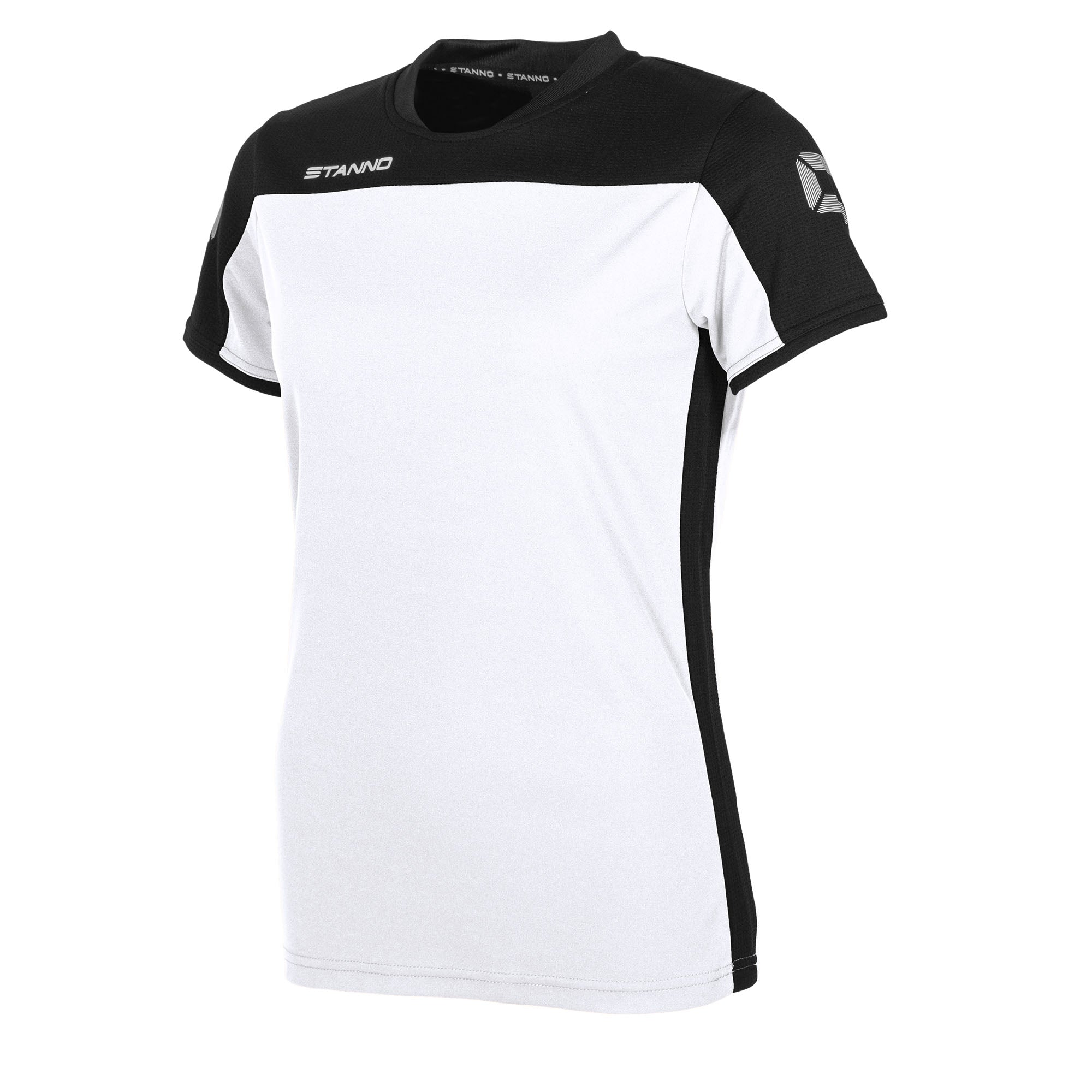 Stanno Pride ladies t-shirt in white, with mesh contrast black shoulder and side panel
