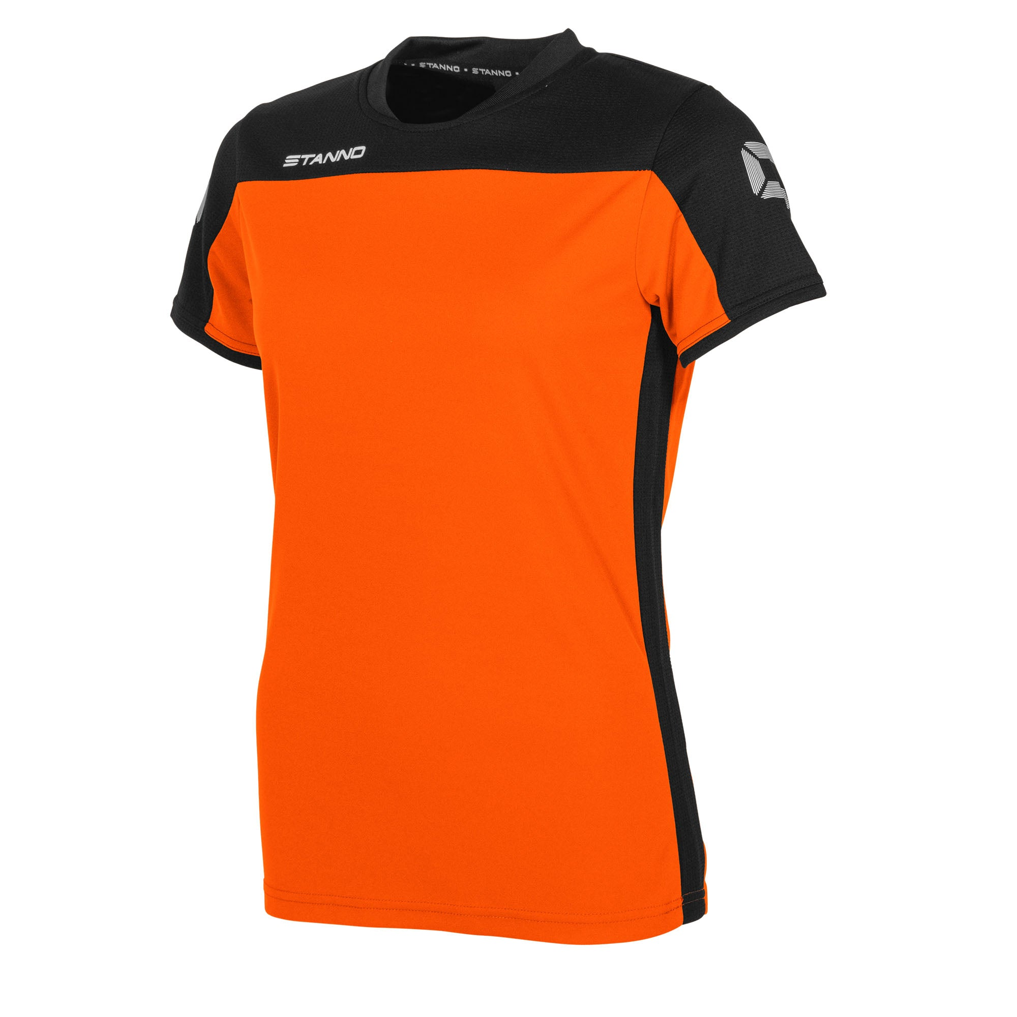 Stanno Pride ladies t-shirt in orange, with mesh contrast black shoulder and side panel