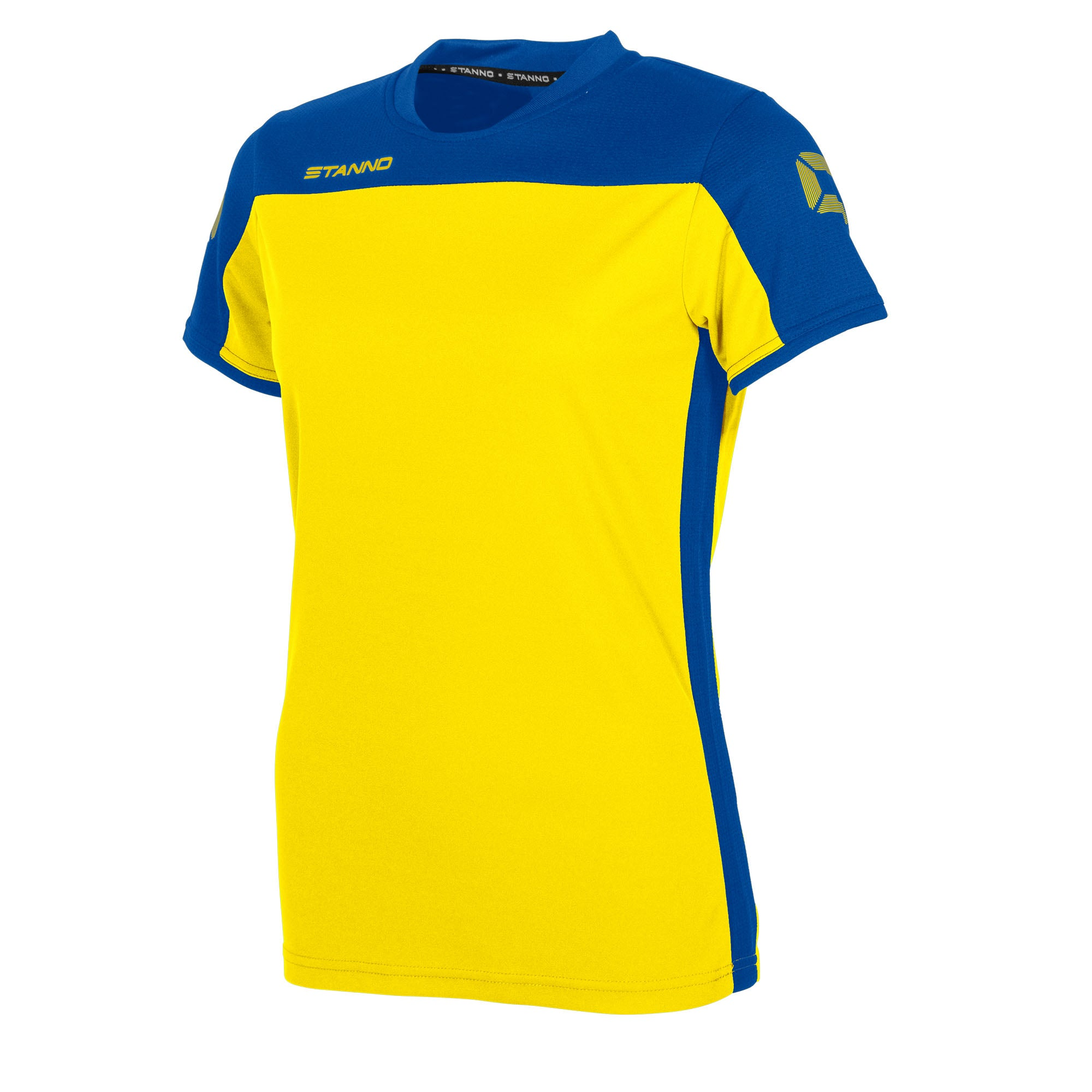 Stanno Pride ladies t-shirt in yellow, with mesh contrast royal blue shoulder and side panel