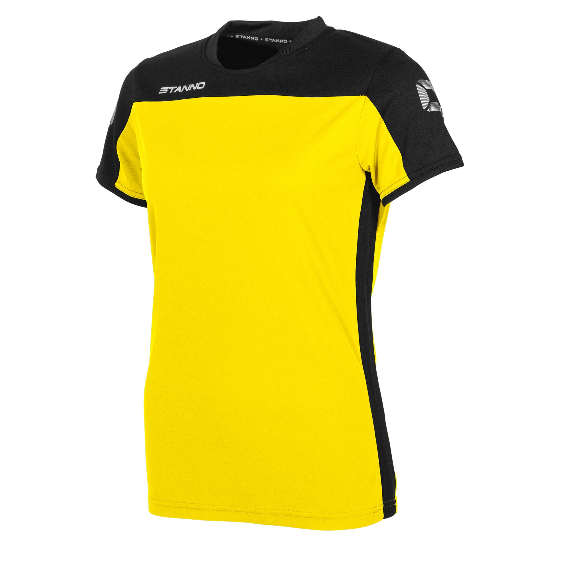 Stanno Pride ladies t-shirt in yellow, with mesh contrast black shoulder and side panel