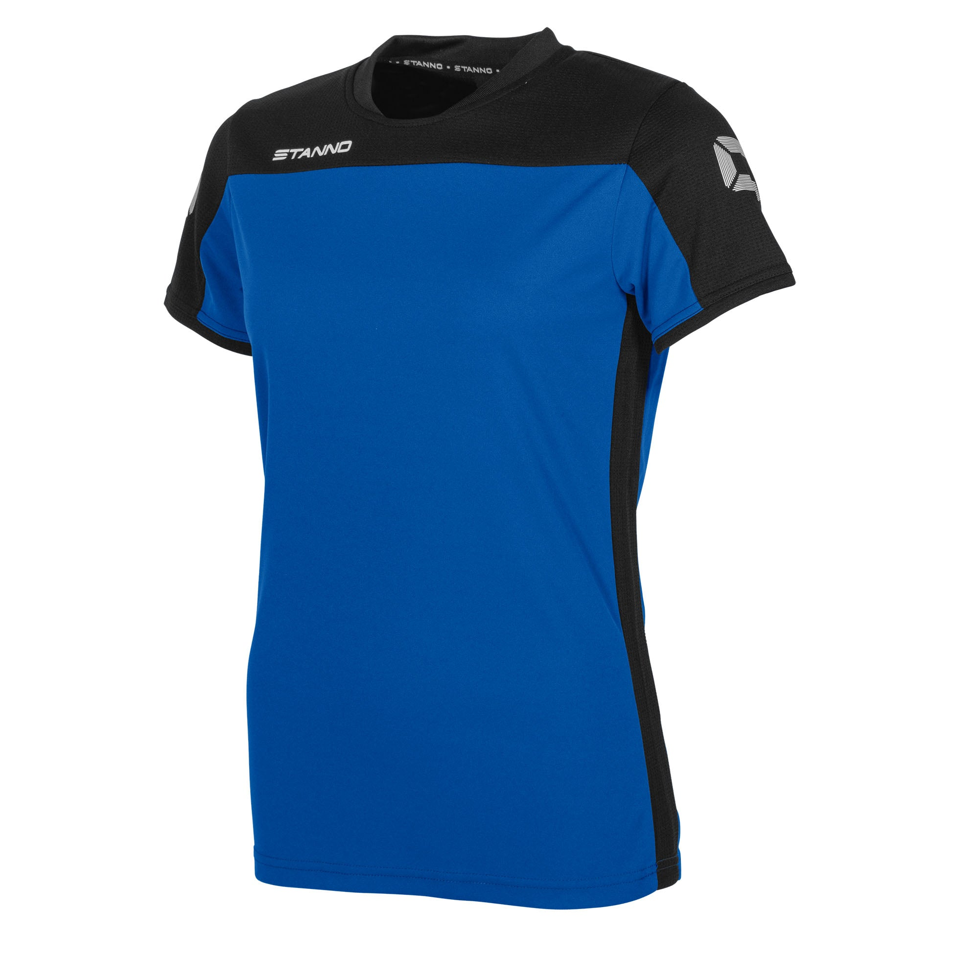 Stanno Pride ladies t-shirt in royal blue, with mesh contrast black shoulder and side panel
