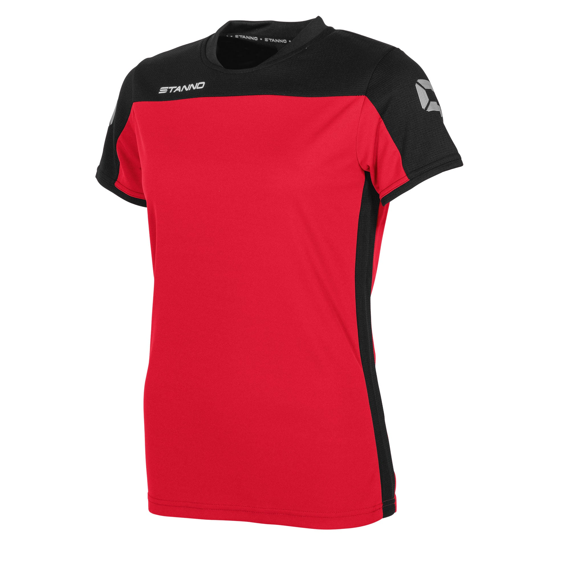 Stanno Pride ladies t-shirt in red, with mesh contrast black shoulder and side panel