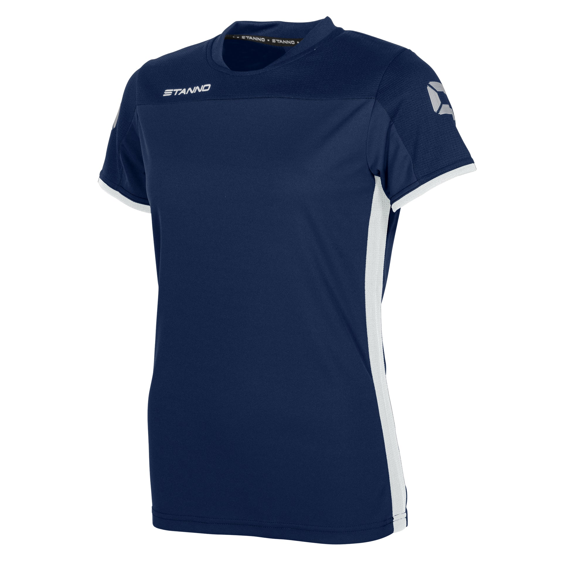 Stanno Pride ladies t-shirt in navy, with mesh shoulder and white side panel