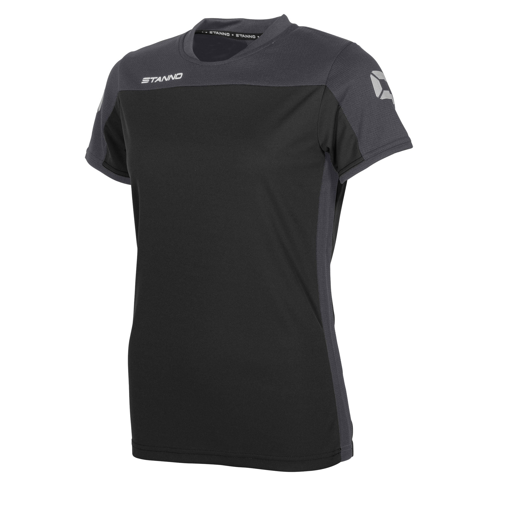 Stanno Pride ladies t-shirt in black, with mesh contrast anthracite shoulder and side panel