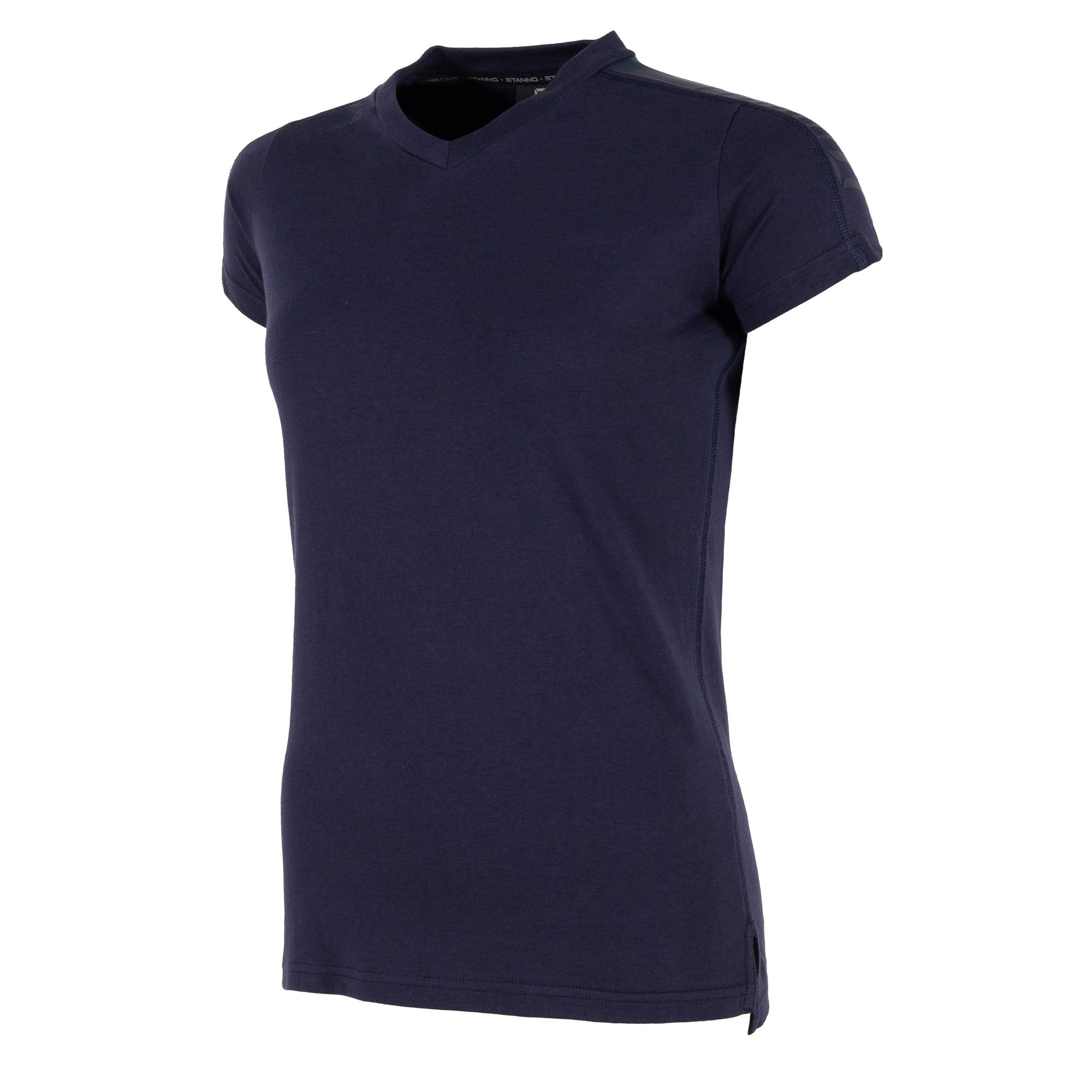 Front view of navy Stanno Ease T-Shirt Ladies with v-neck, side slit design, and subtle shoulder print.