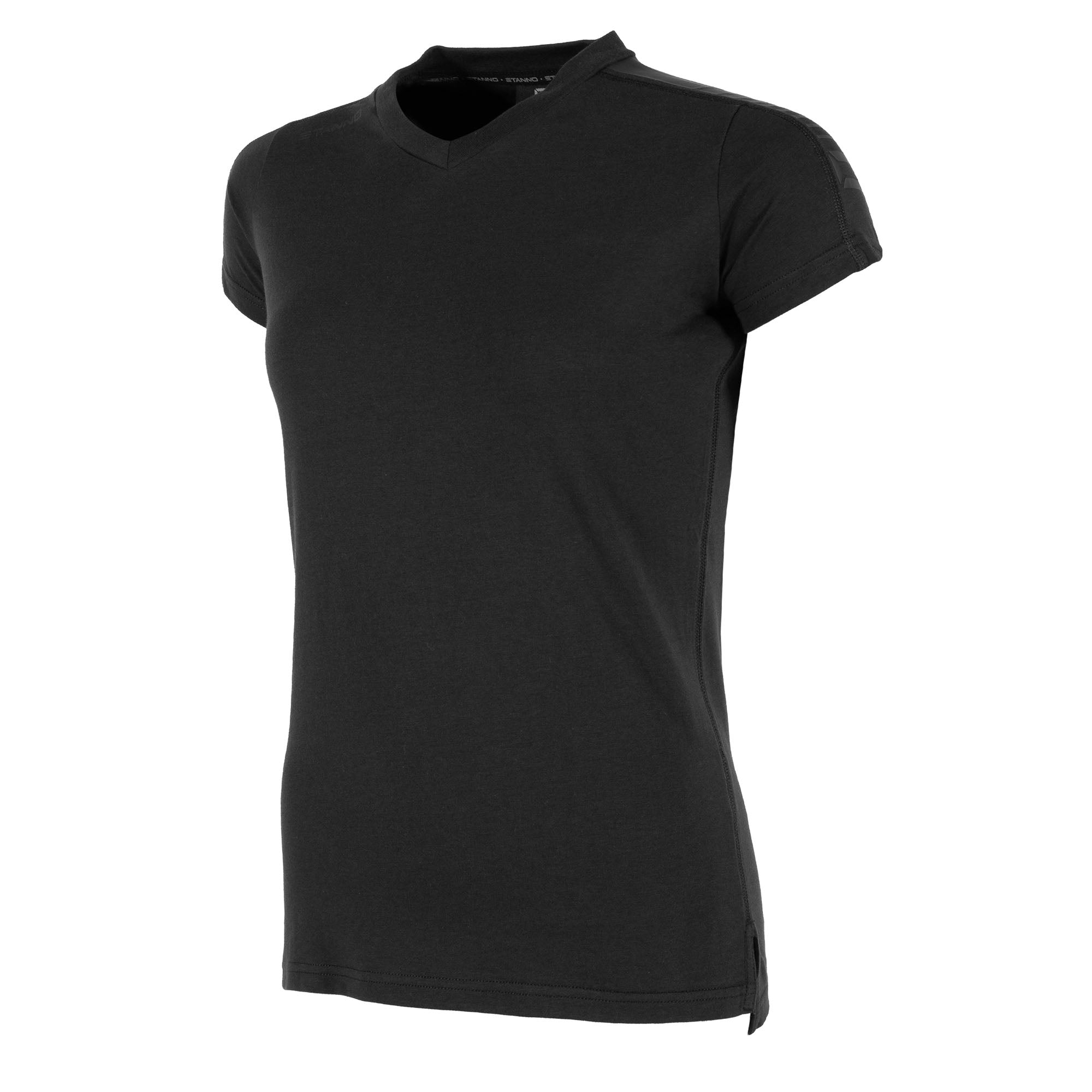 Front view of black Stanno Ease T-Shirt Ladies with v-neck, side slit design, and subtle shoulder print.