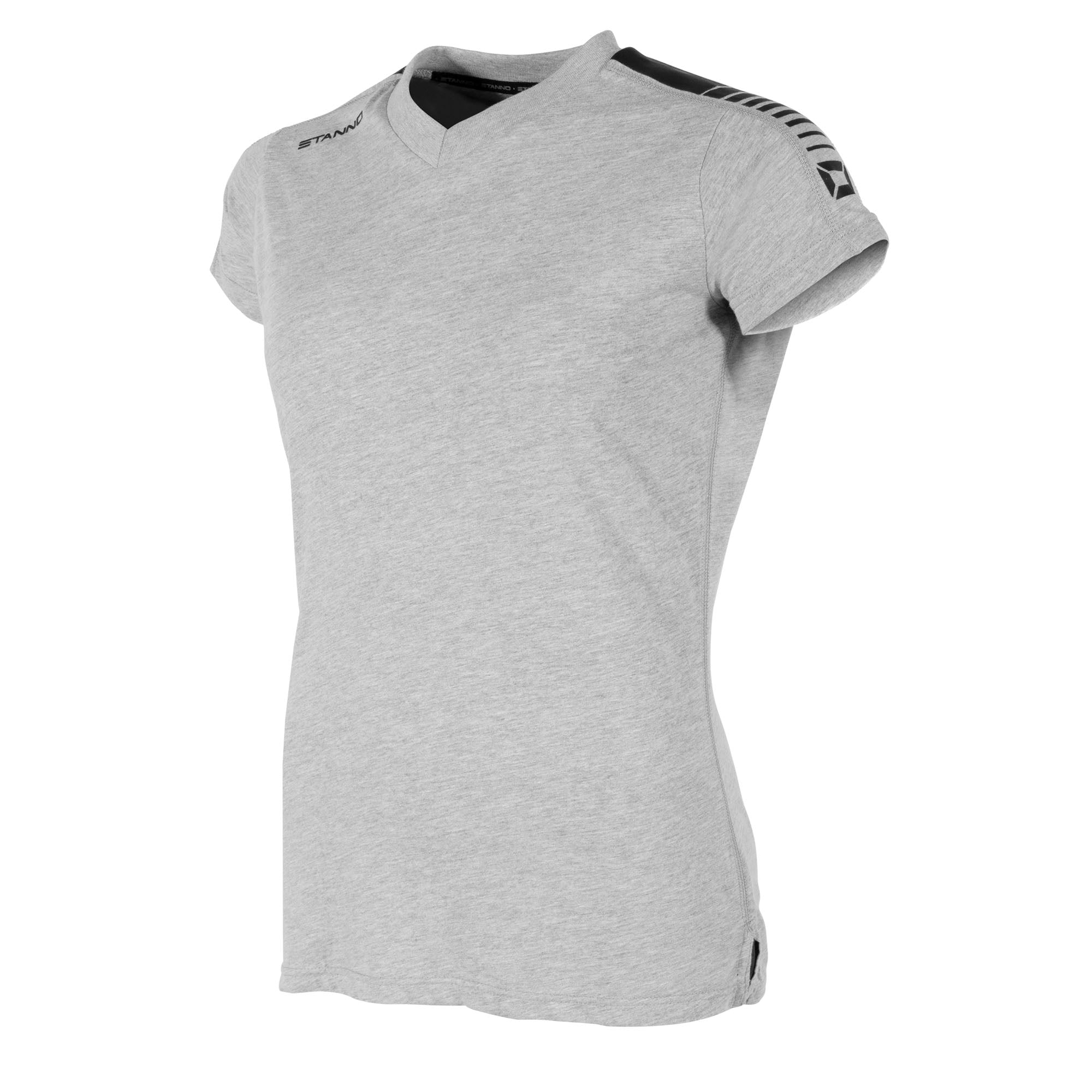 Front view of grey Stanno Ease T-Shirt Ladies with v-neck, side slit design, and black shoulder print.