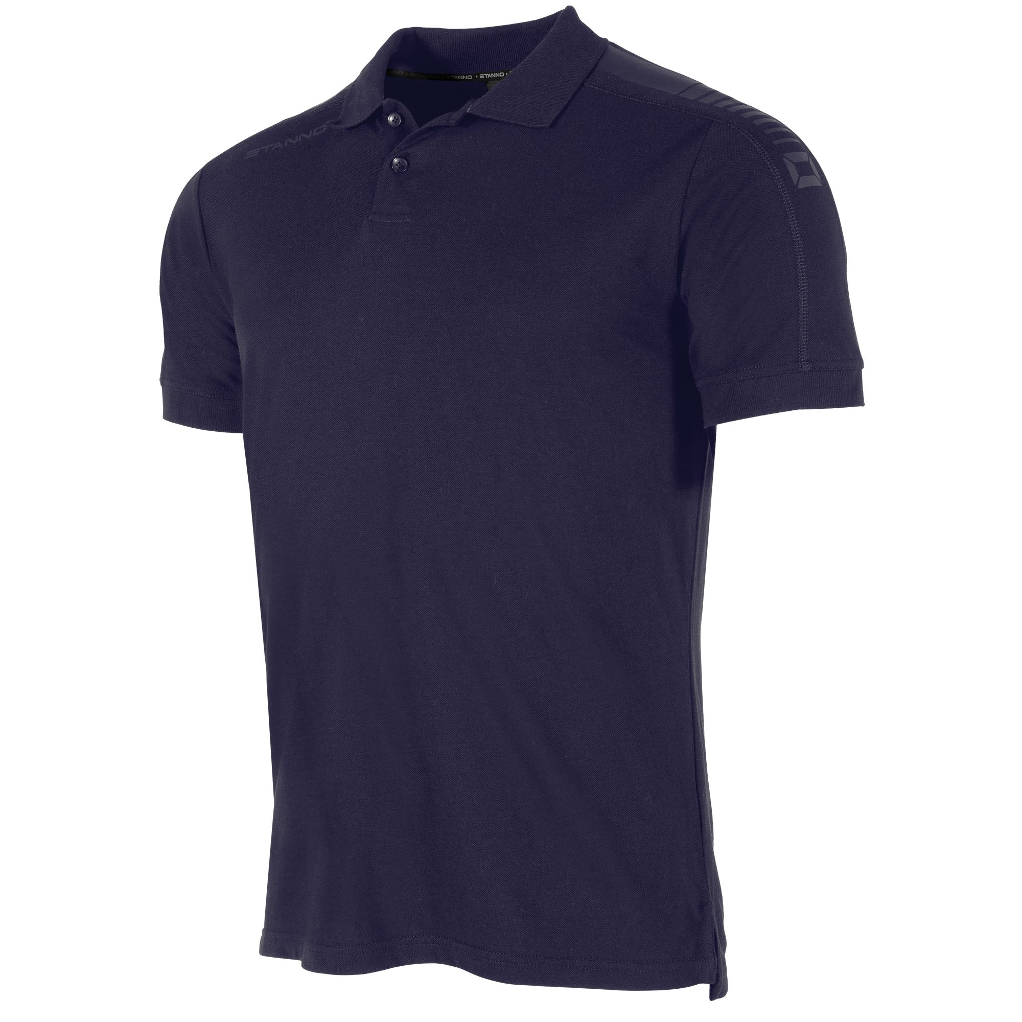front view of a navy Stanno Ease Polo. 2 buttons, and print design on the shoulders.