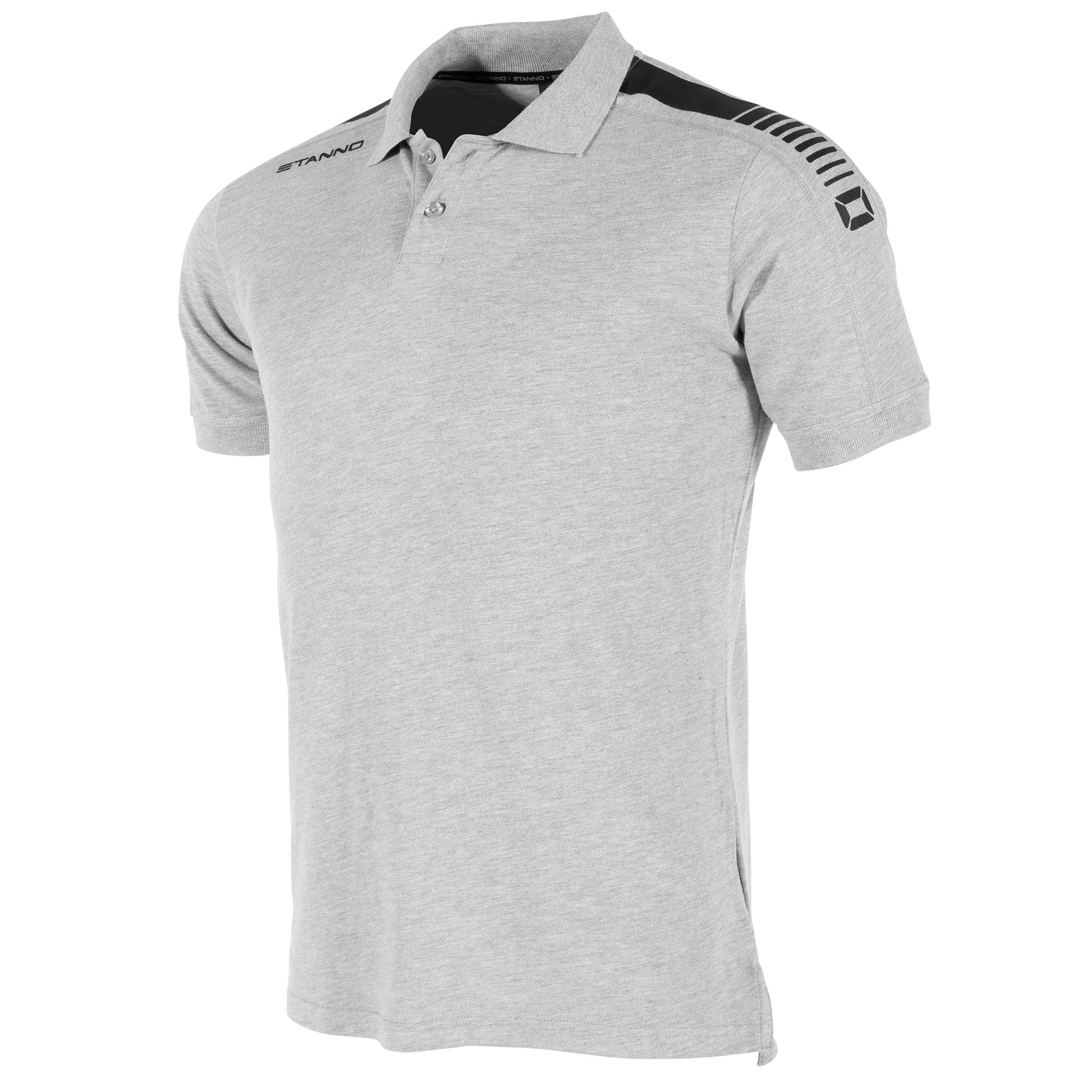 front view of a grey Stanno Ease Polo. 2 buttons, and black print design on the shoulders.