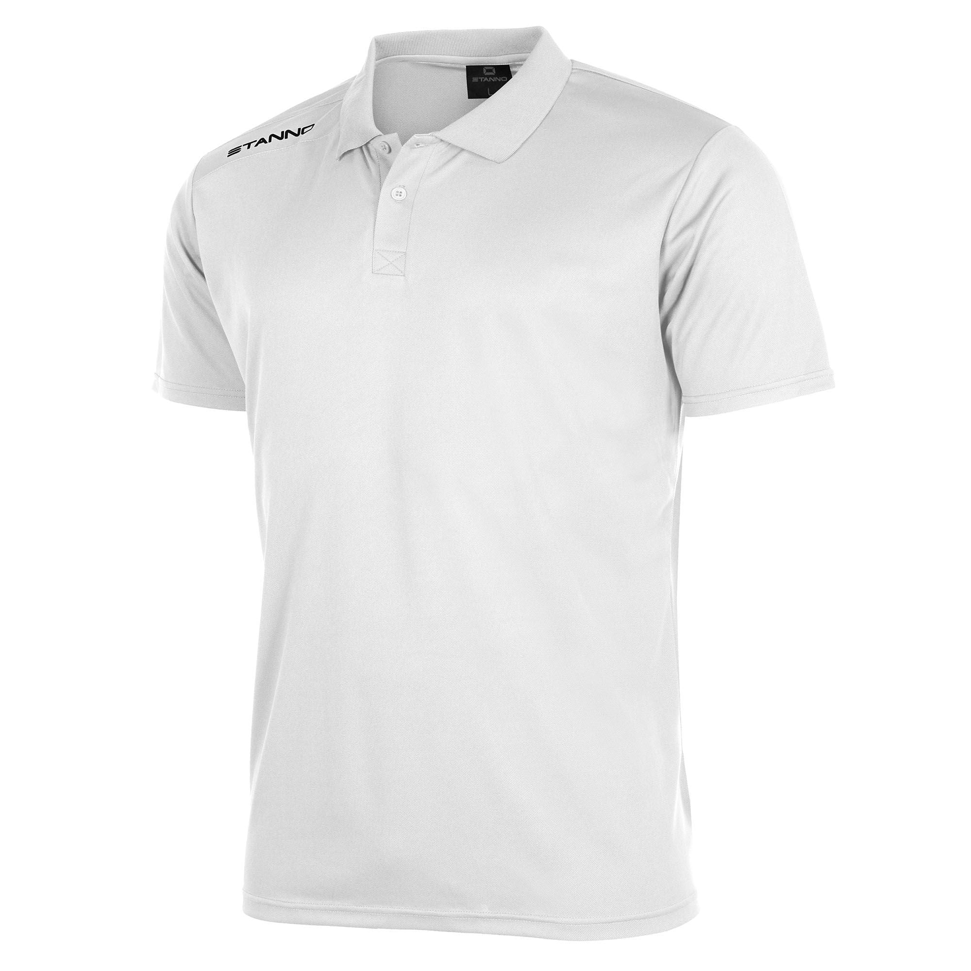 Front of Stanno Field Polo Shirt in white with black text logo on right shoulder