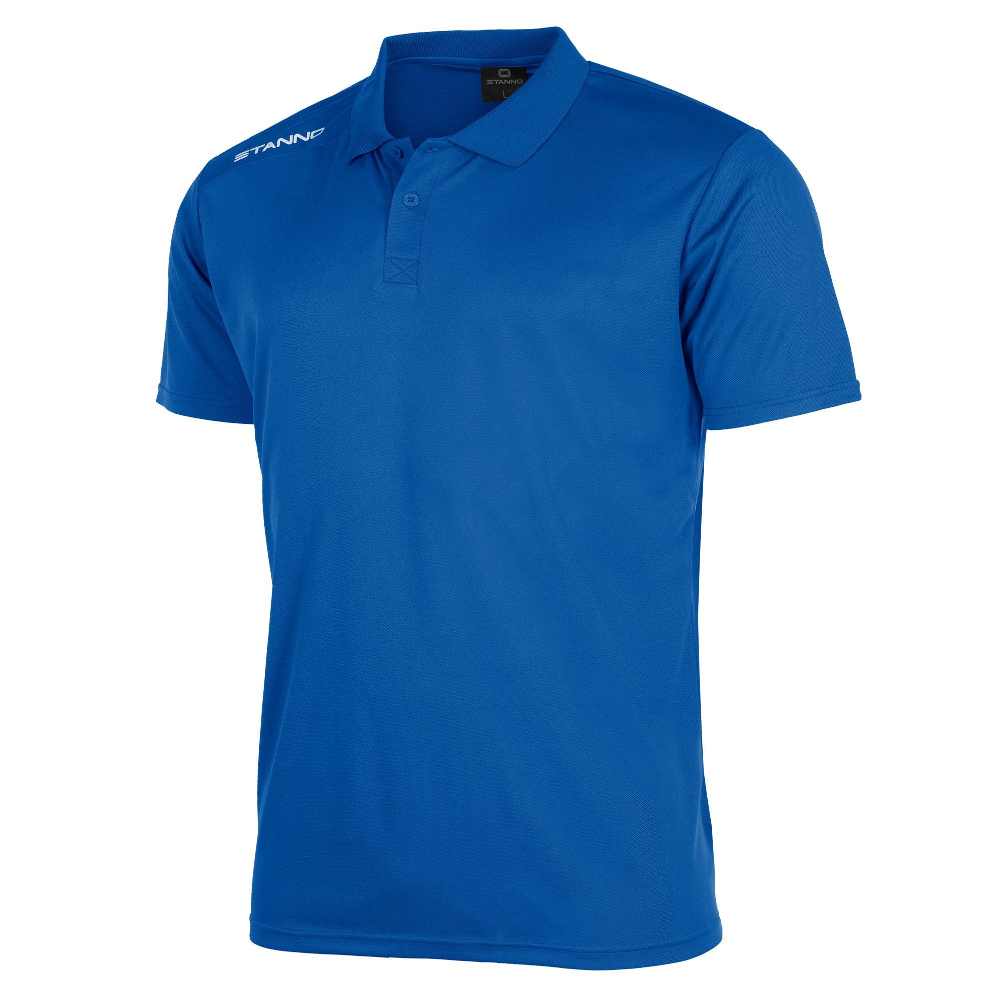 Front of Stanno Field Polo Shirt in royal with white text logo on right shoulder