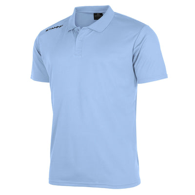 Front of Stanno Field Polo Shirt in sky blue with black text logo on right shoulder
