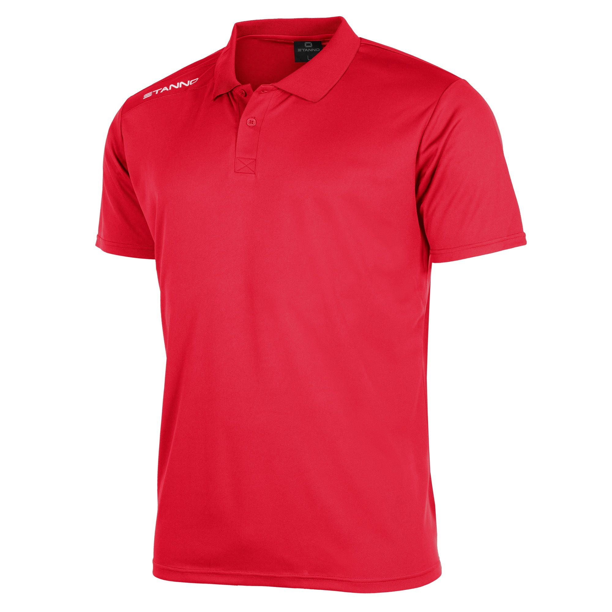 Front of Stanno Field Polo Shirt in red with white text logo on right shoulder