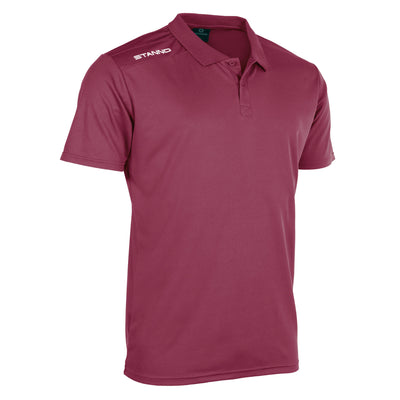 Front of Stanno Field Polo in maroon with Stanno printed logo on right shoulder