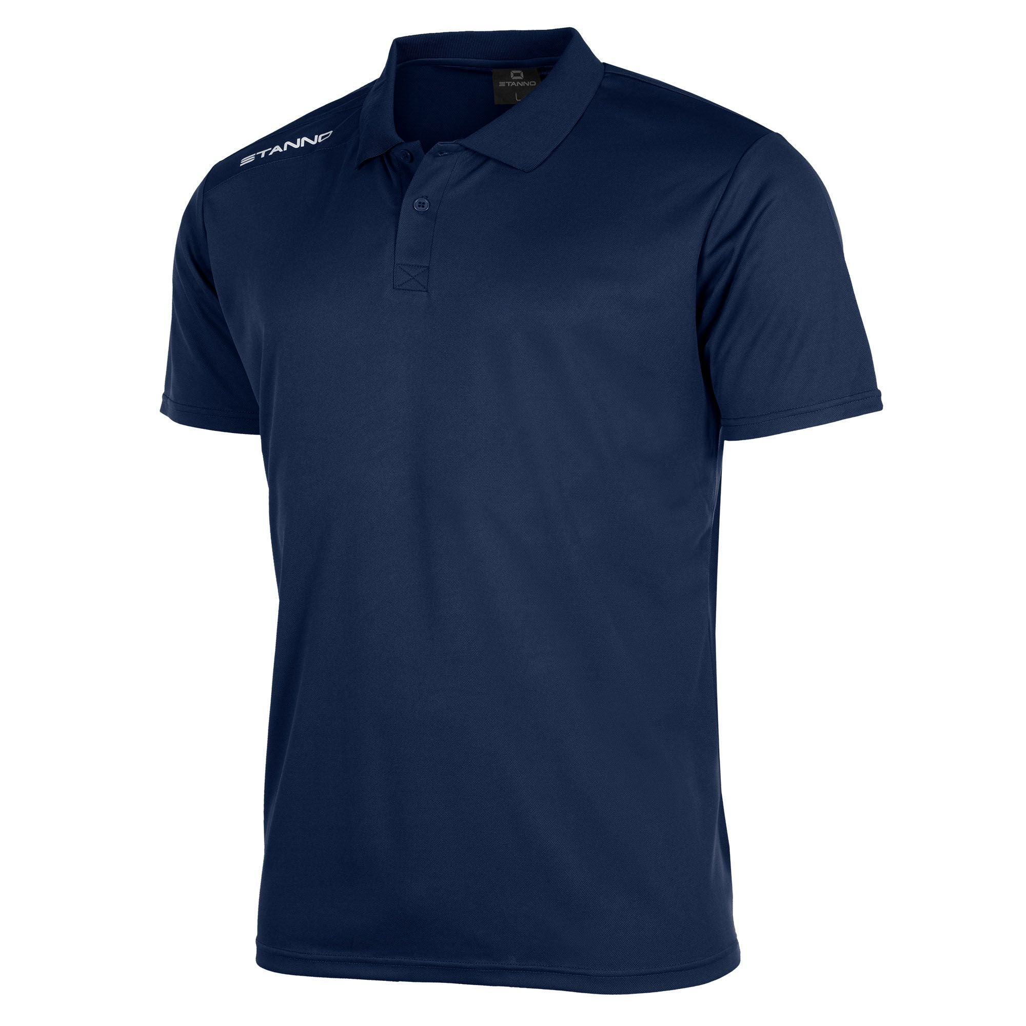 Front of Stanno Field Polo Shirt in navy with white text logo on right shoulder