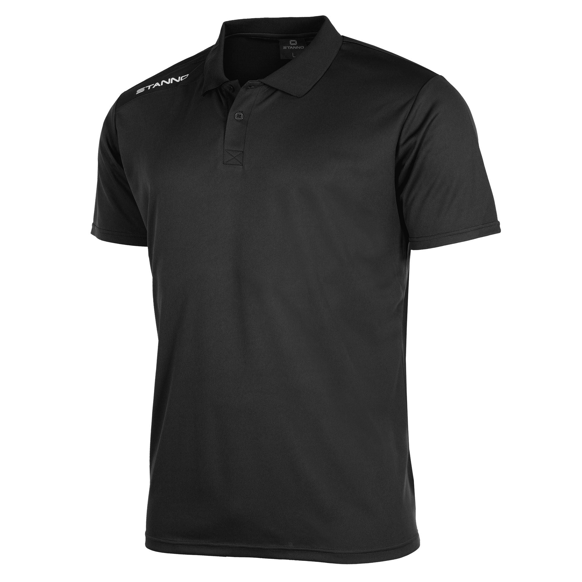 Stanno Field Polo Shirt in black with white text logo on right shoulder