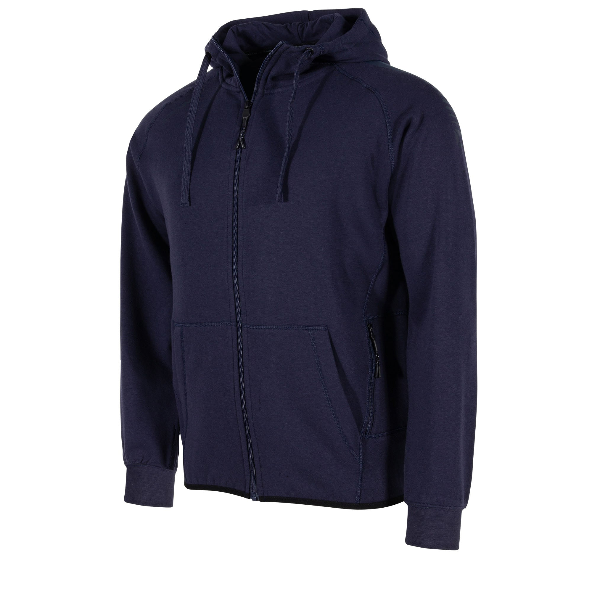 Front view of navy Stanno Ease Full Zip Hoodie. Front left zip pocket. Shoulder print.