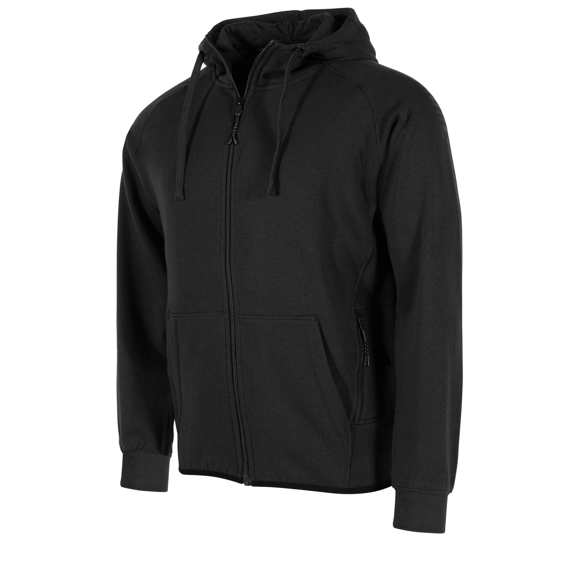 front of Stanno Ease Full Zip Hoodie in black with front pouch pockets, left side front zip pocket. Drawcord hood.
