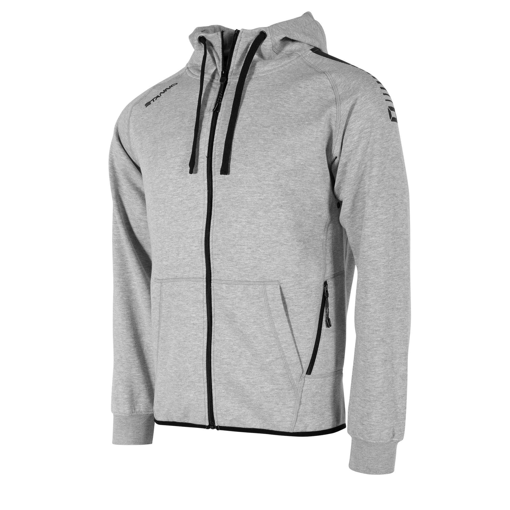 Front view of grey Stanno Ease Full Zip Hoodie. Black shoulder prints and black detailing of left front zip pocket and drawcords.