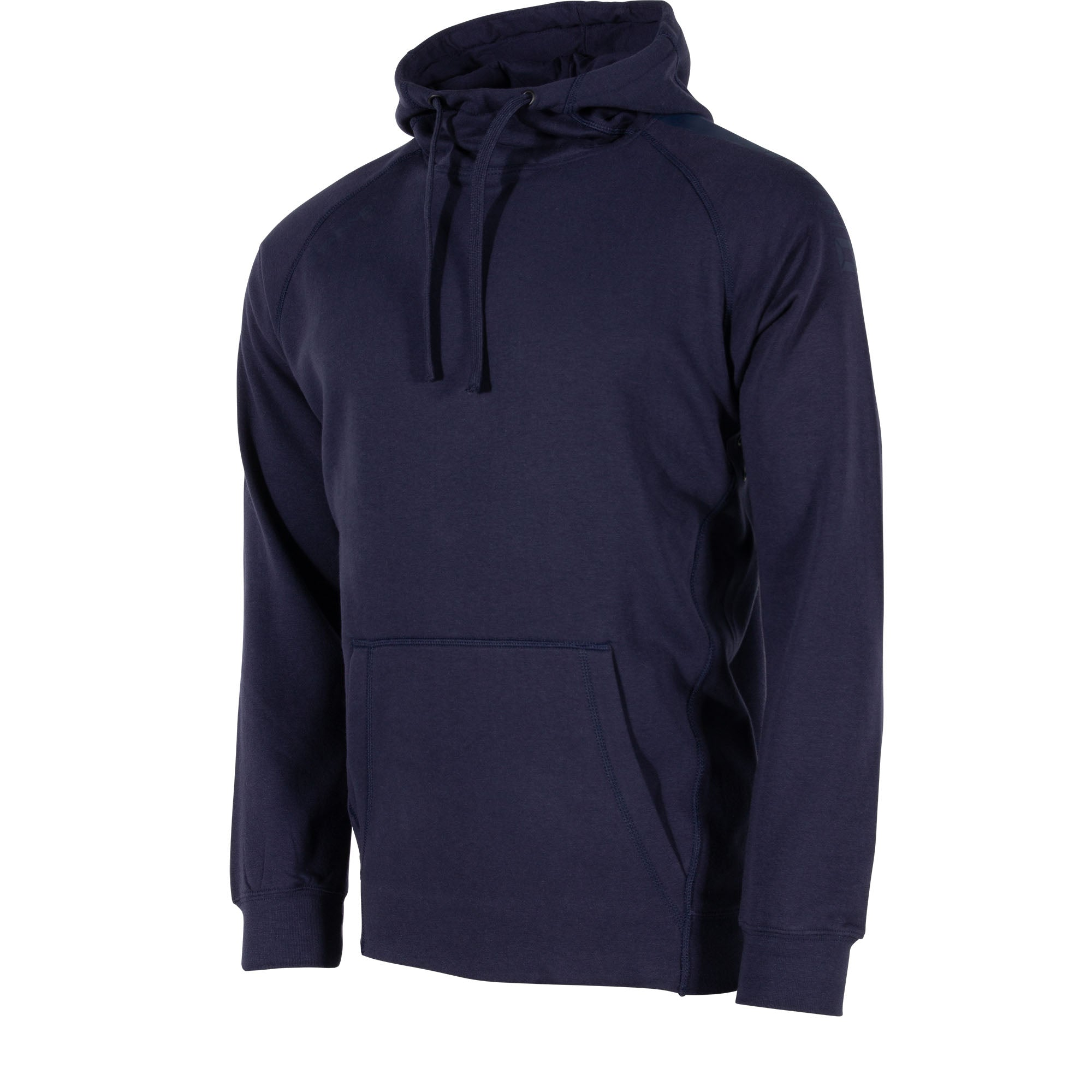 Front view of Stanno Ease Hoodie in navy with front Kangaroo pouch. Printed shoulder logo.