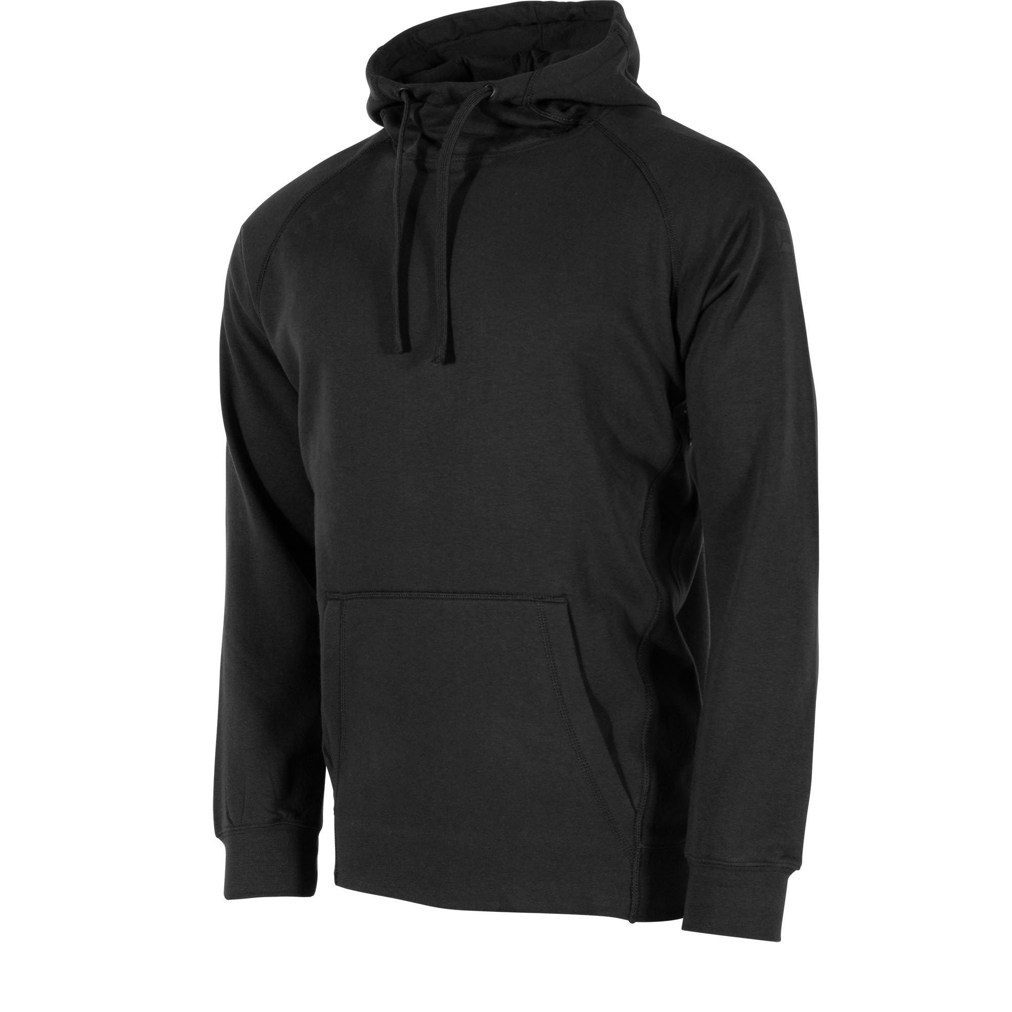front view of Stanno Ease Hoodie in black with Kangaroo pouch, and printed logo on shoulders.