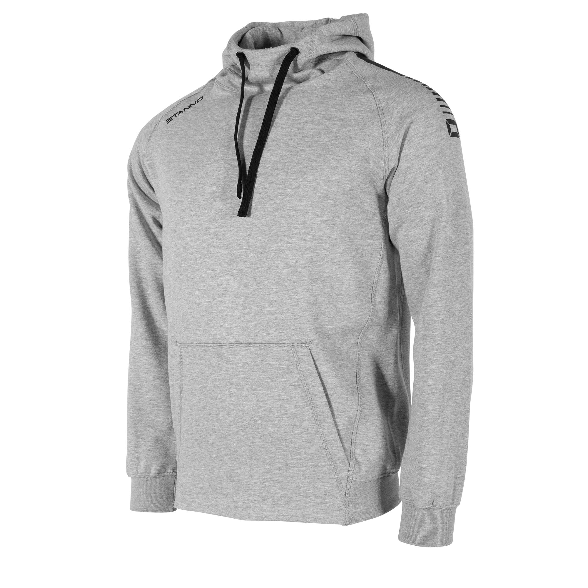 front view of Stanno Ease Hoodie in grey with Kangaroo pouch, and printed black logo on shoulders.