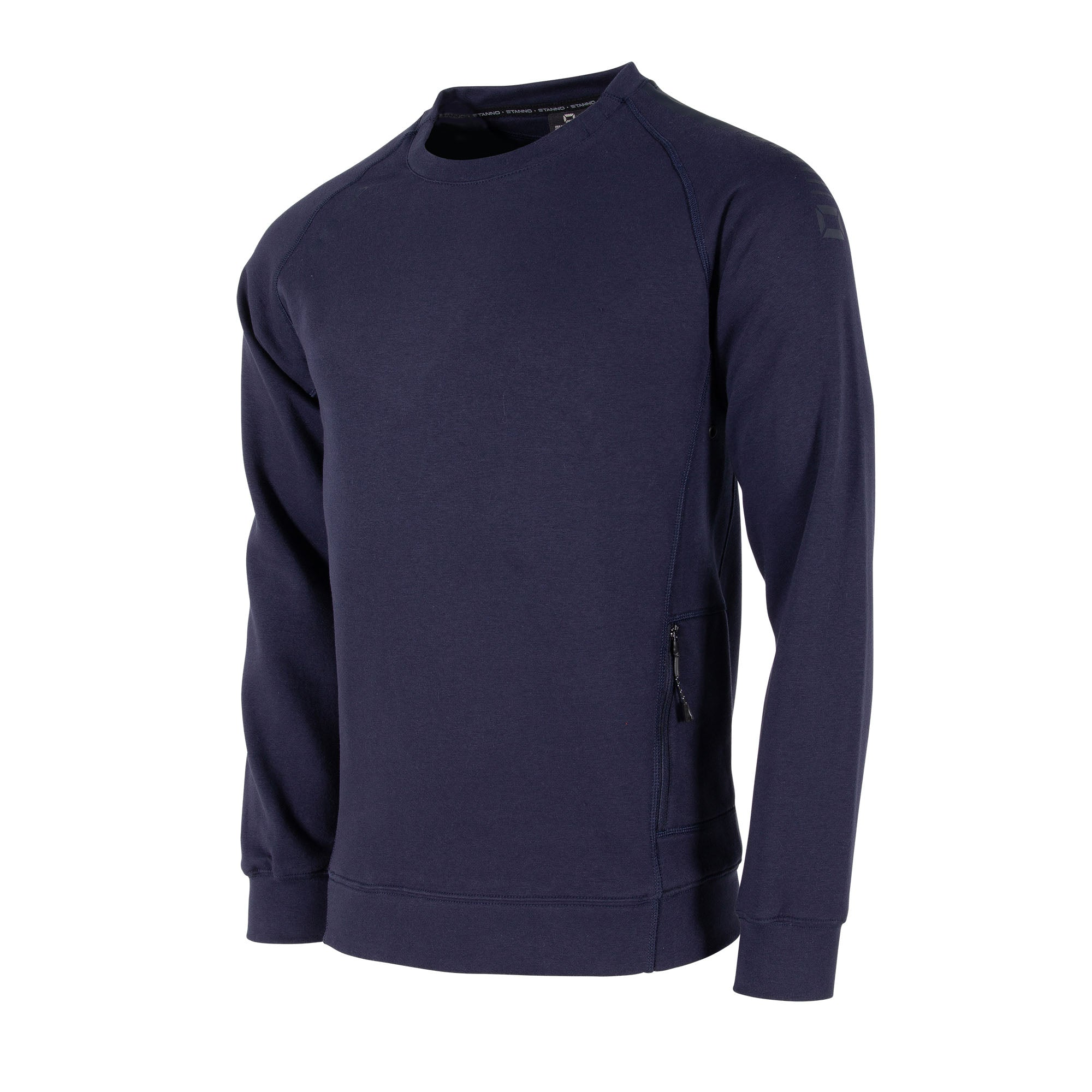 Front view of Stanno Ease crewneck in navy with raglan sleeve. Printed logo on shoulder