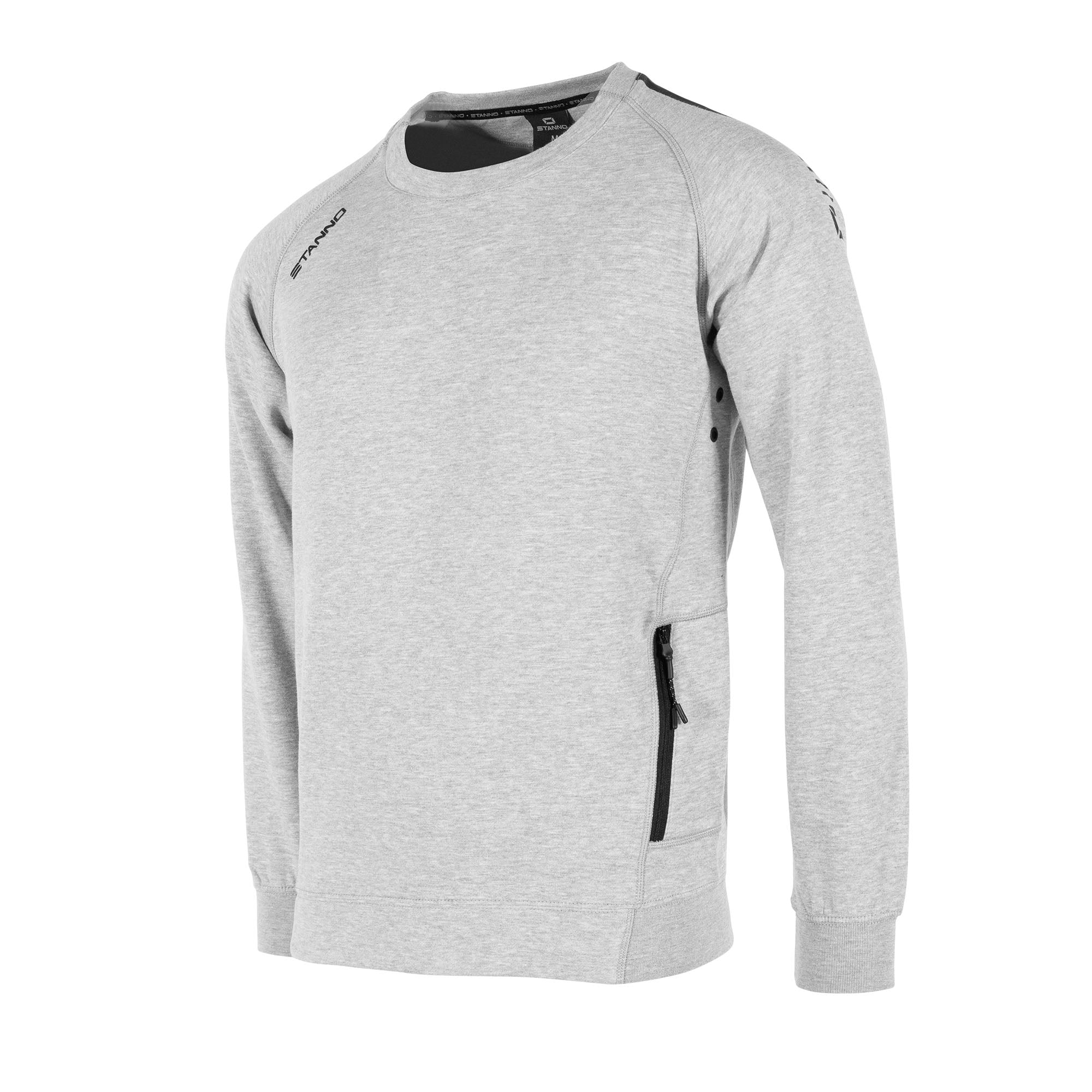 Front view of Stanno Ease crewneck in grey with raglan sleeve. Printed black logo on shoulder.