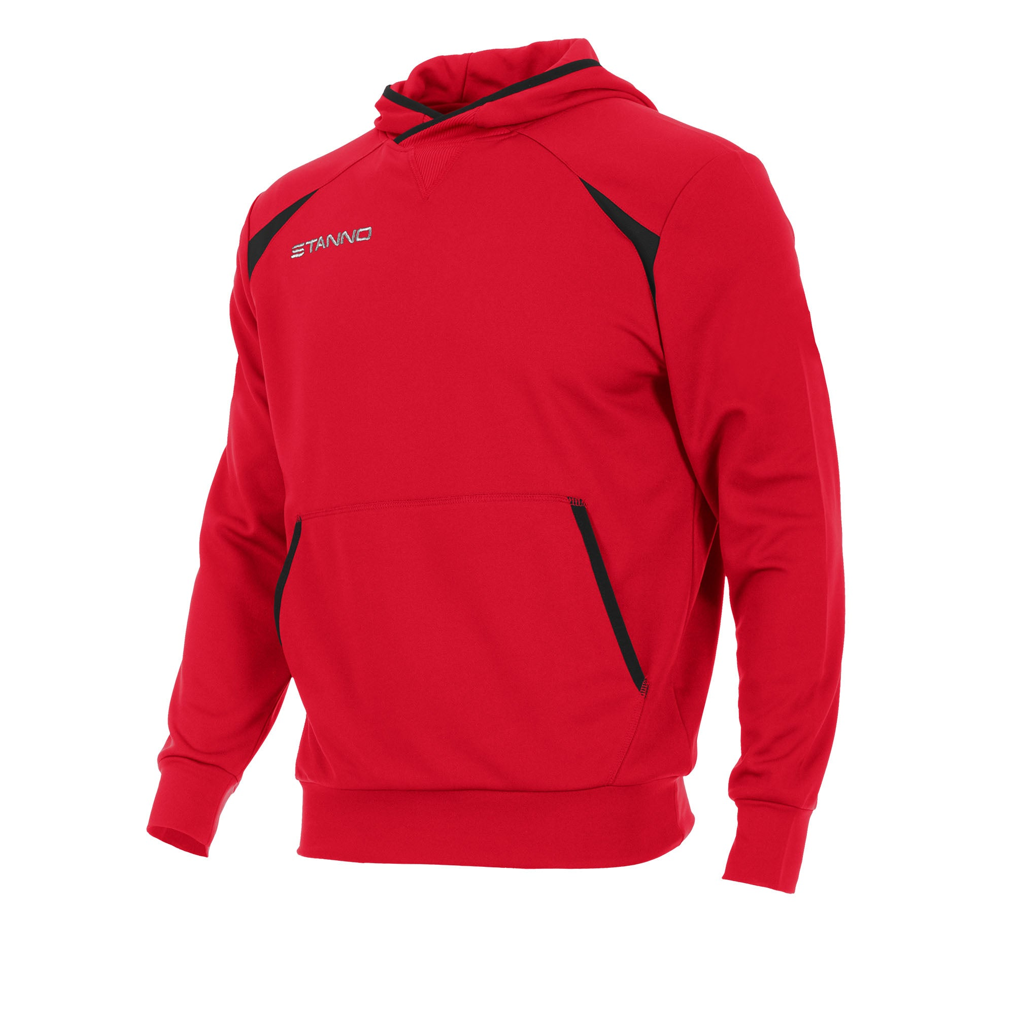 Front of Stanno Centro hooded sweat in red with black contrast decal.